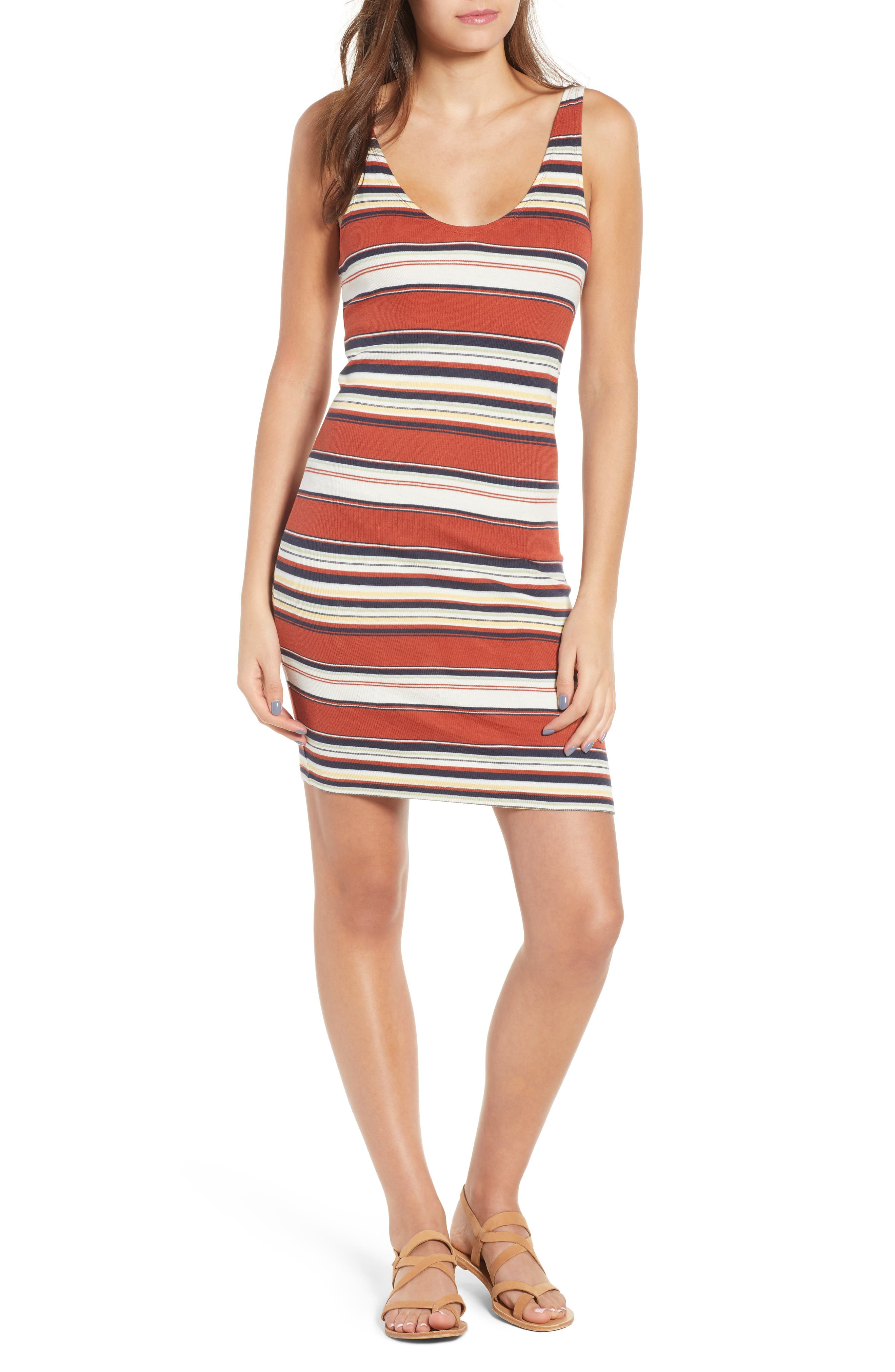 Homesick Stripe Ribbed Dress,                             Main thumbnail 1, color,                             Brick Multi