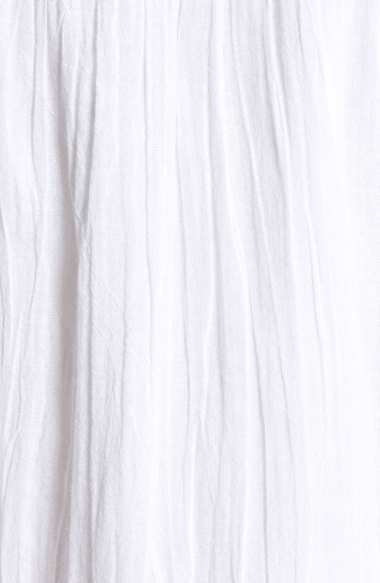 Clemency Embroidered Cotton Gauze Dress,                             Alternate thumbnail 5, color,                             Clean White Salsa