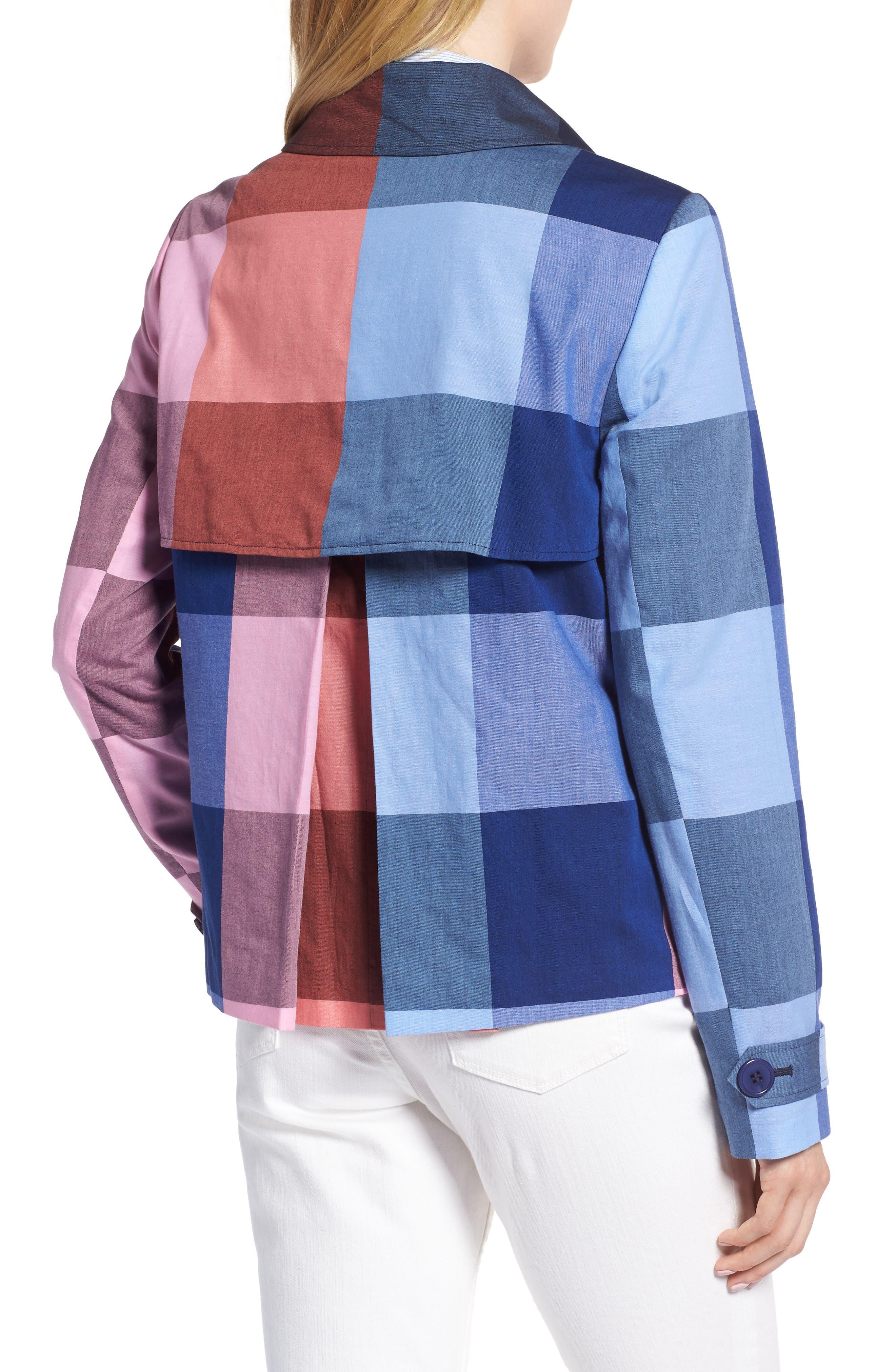 Double Breasted Plaid Cotton Blazer,                             Alternate thumbnail 2, color,                             Pink- Blue Plaid