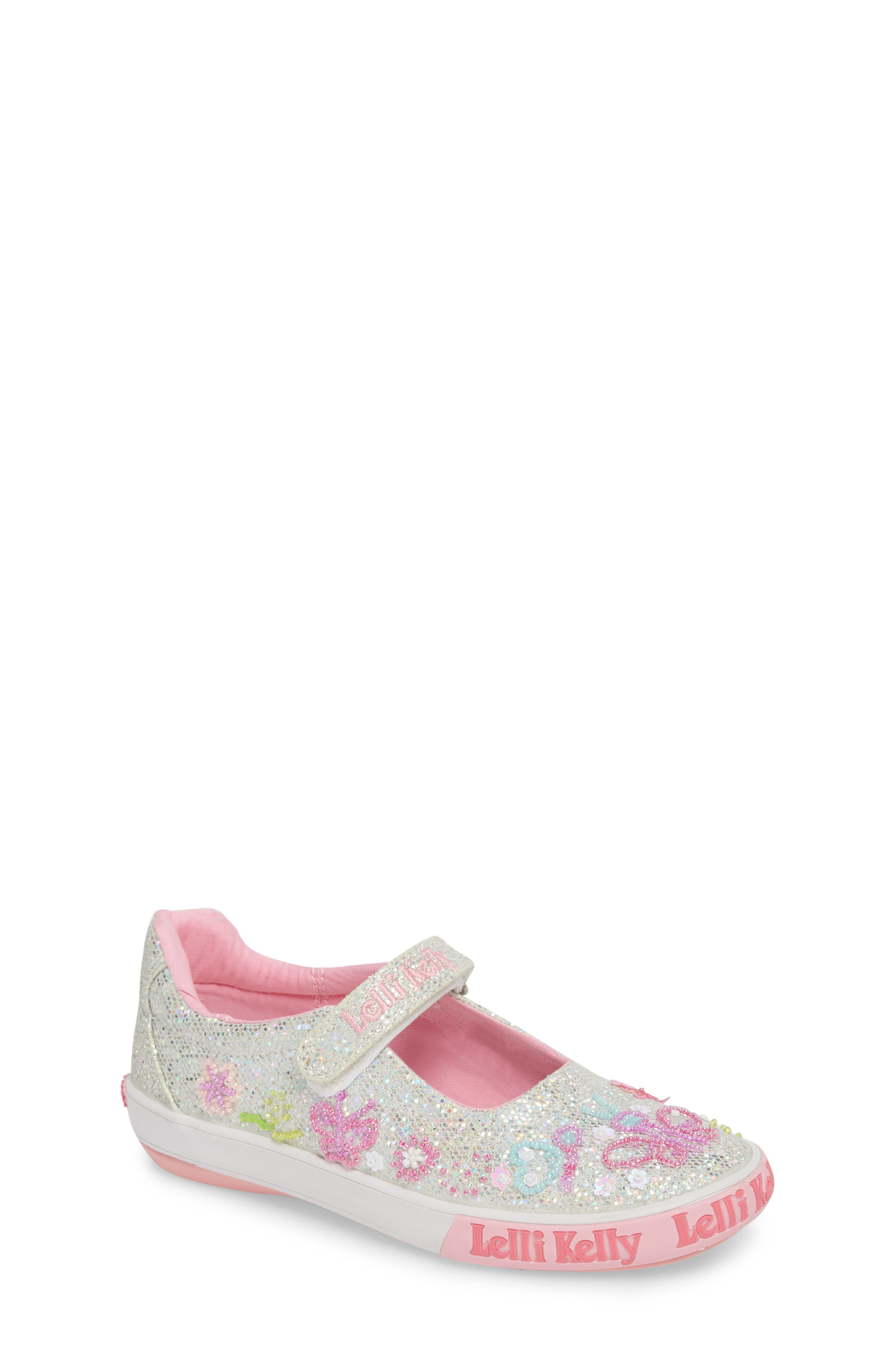 Beaded Mary Jane Sneaker,                         Main,                         color, Silver
