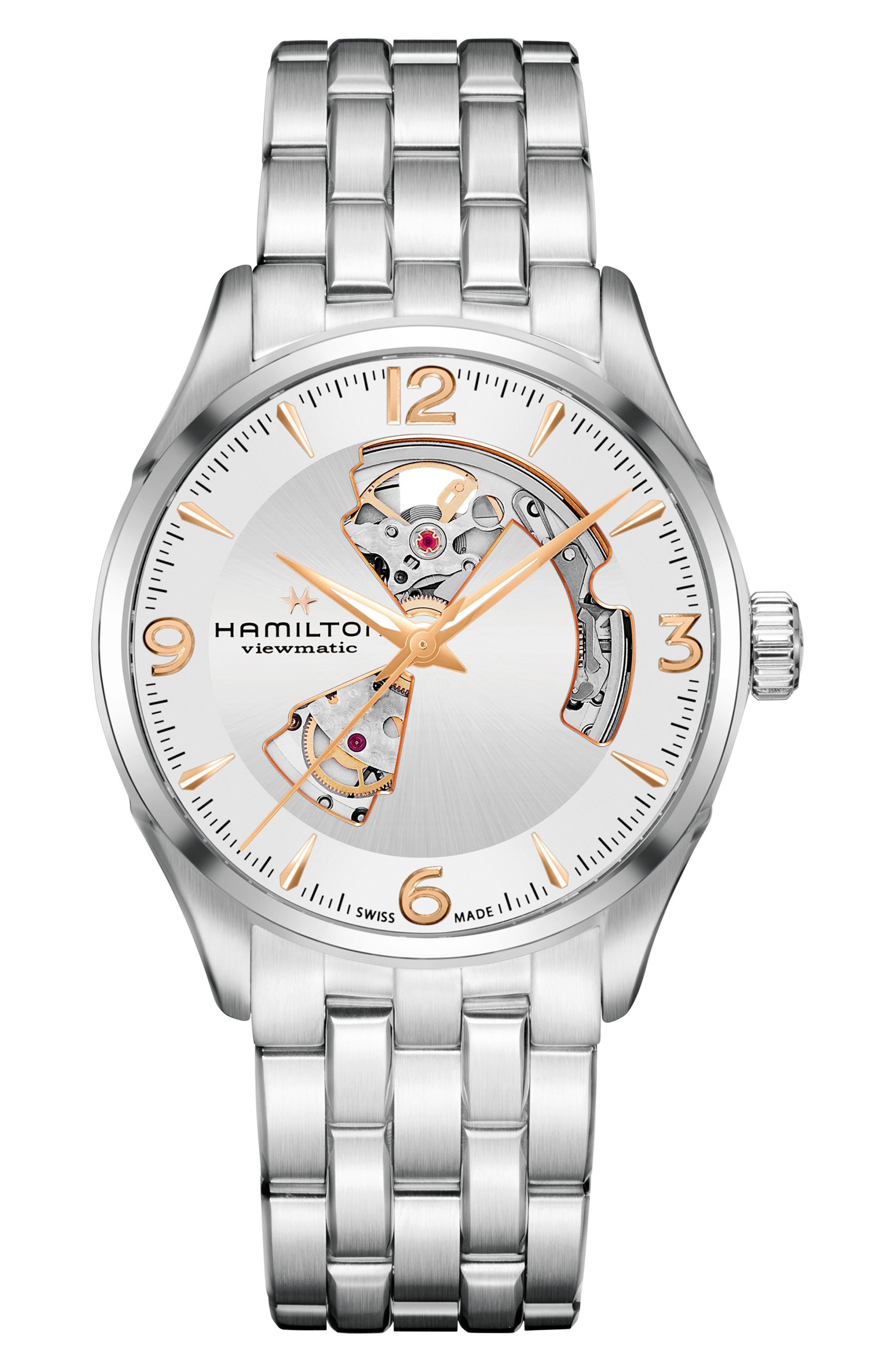 Hamilton Jazzmaster Open Heart Automatic Bracelet Watch, 42mm