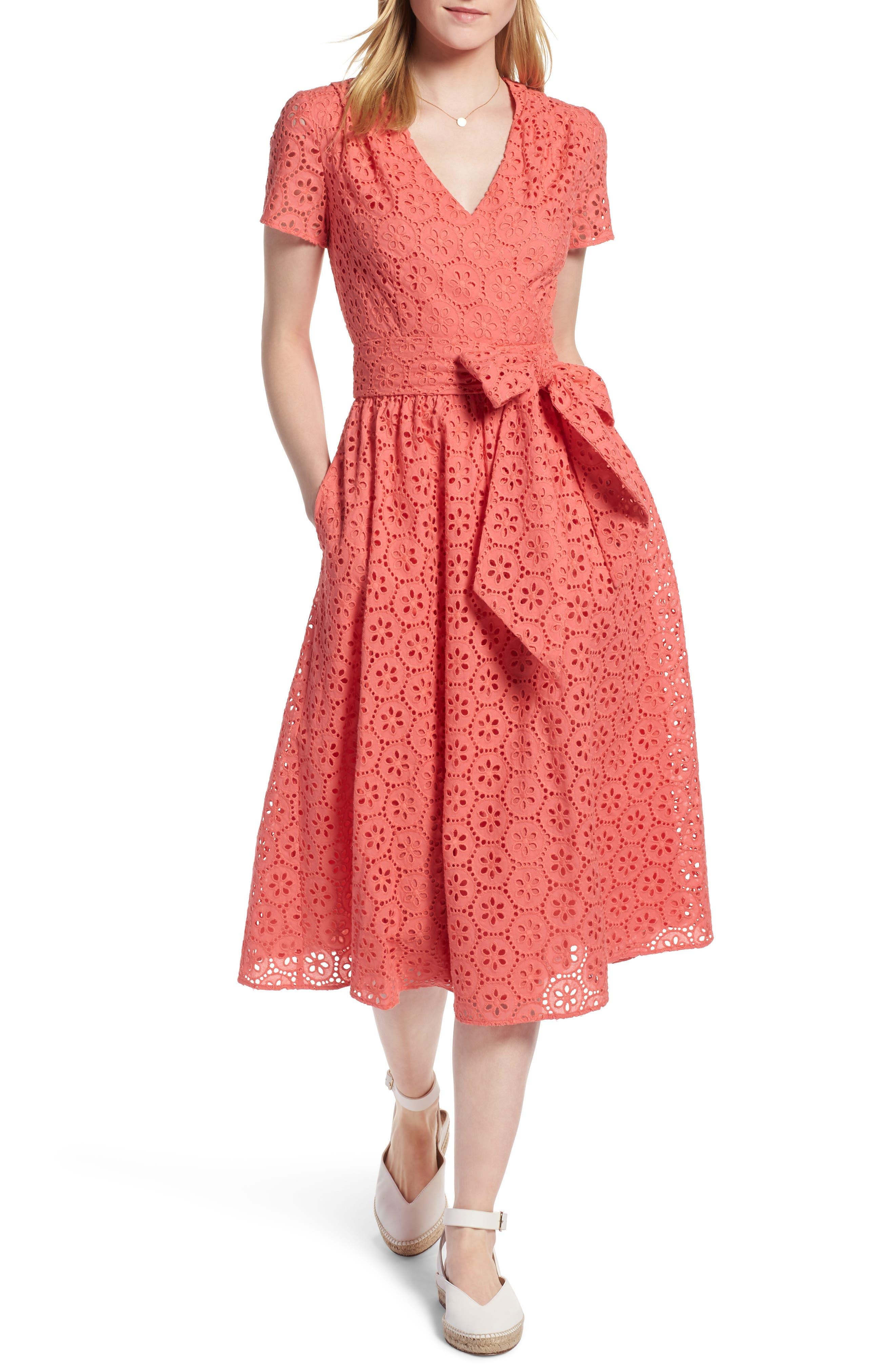 1901 Cotton Eyelet Short Sleeve Dress (Regular & Petite)