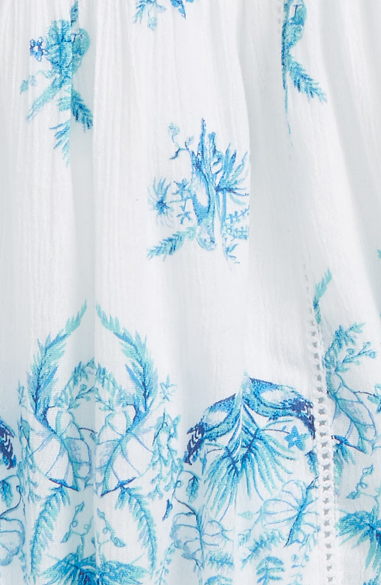 Bird Print Woven Dress,                             Alternate thumbnail 2, color,                             White- Blue Bird Toile
