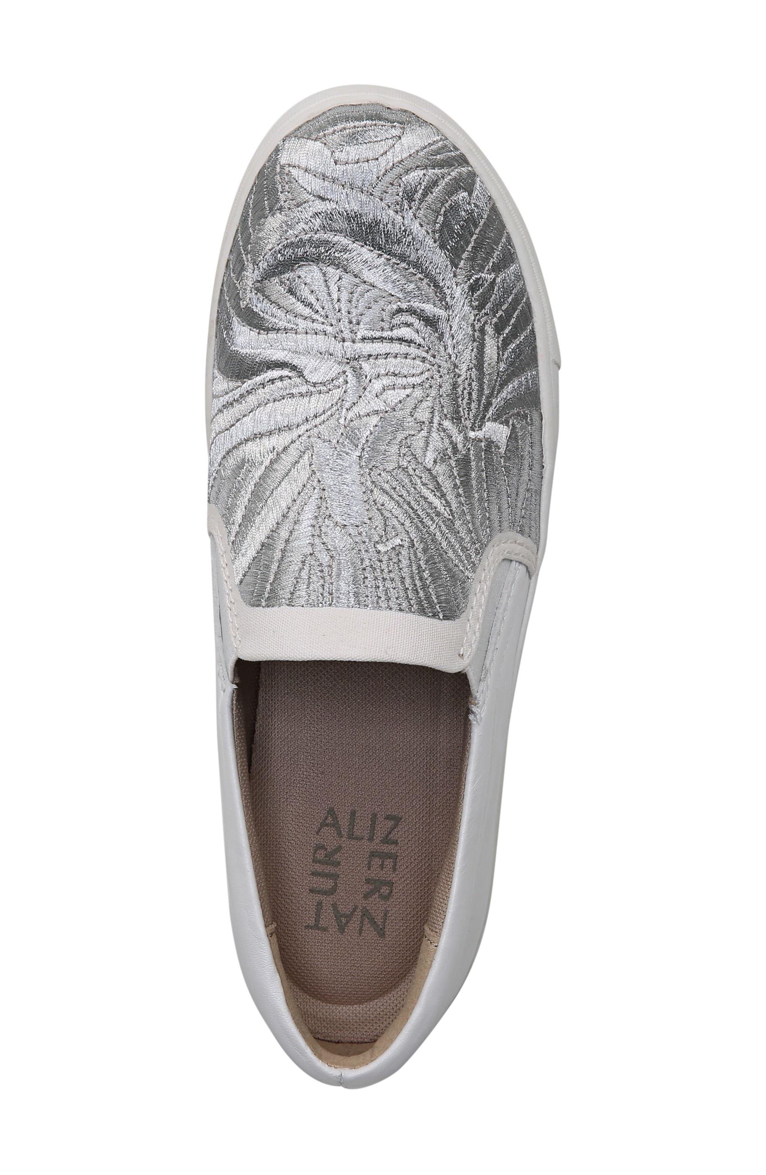 Marianne Slip-On Sneaker,                             Alternate thumbnail 4, color,                             White/ Silver Leather