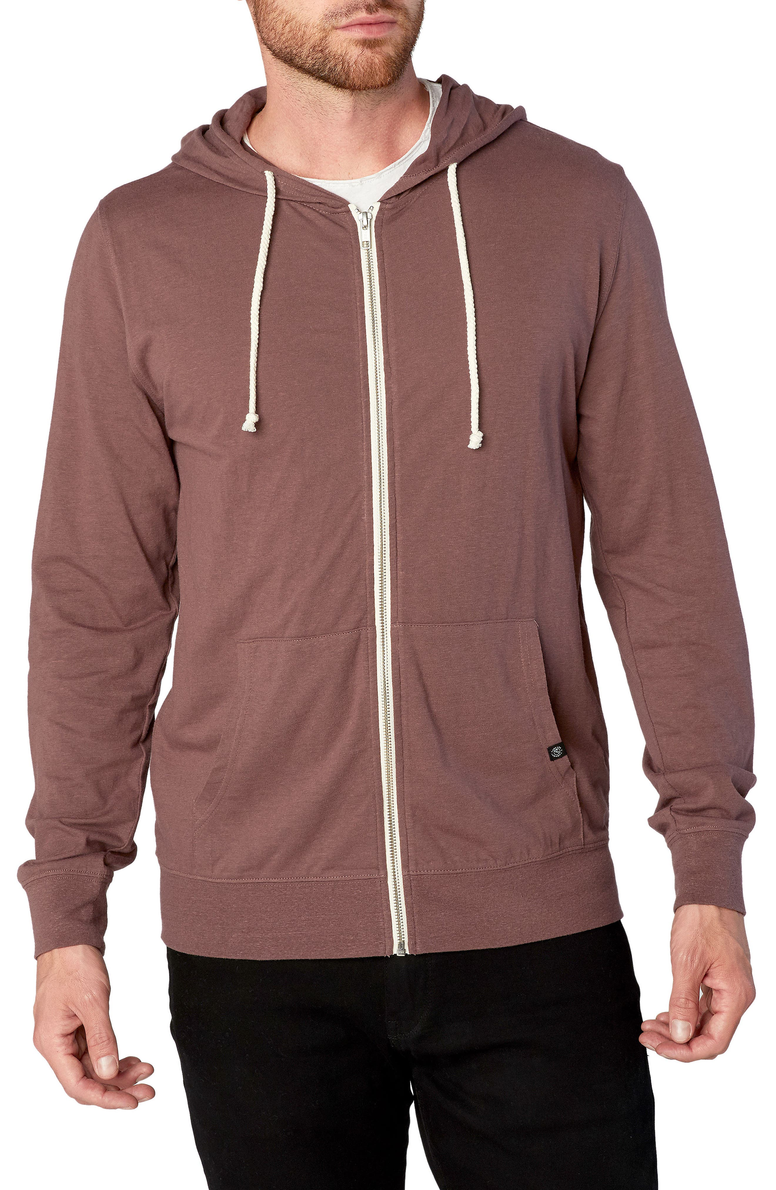 Threads for Thought Giulio Zip Hoodie,                         Main,                         color, Twilight Mauve