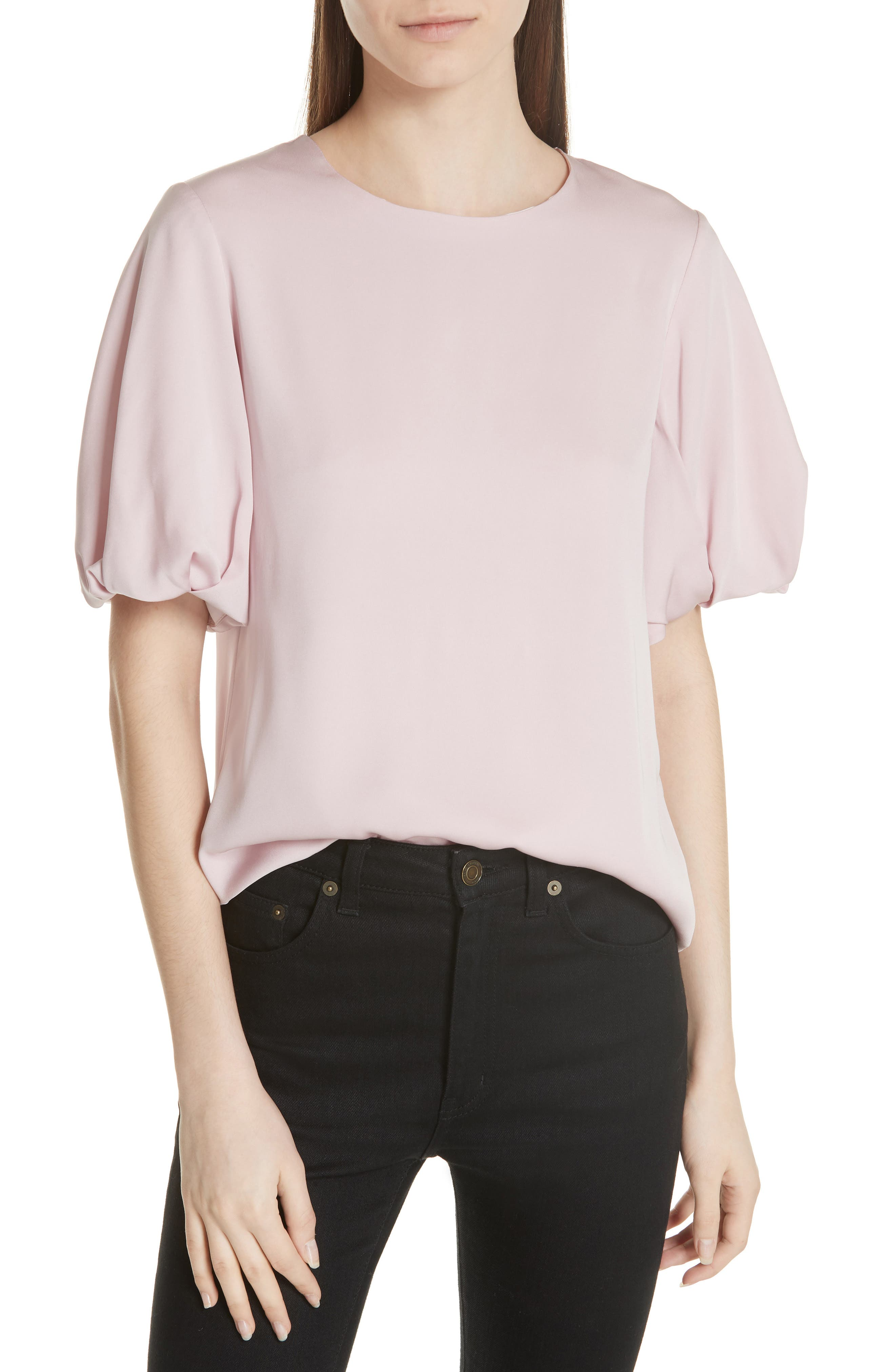 Melinda Stretch Silk Puff Sleeve Top by Milly