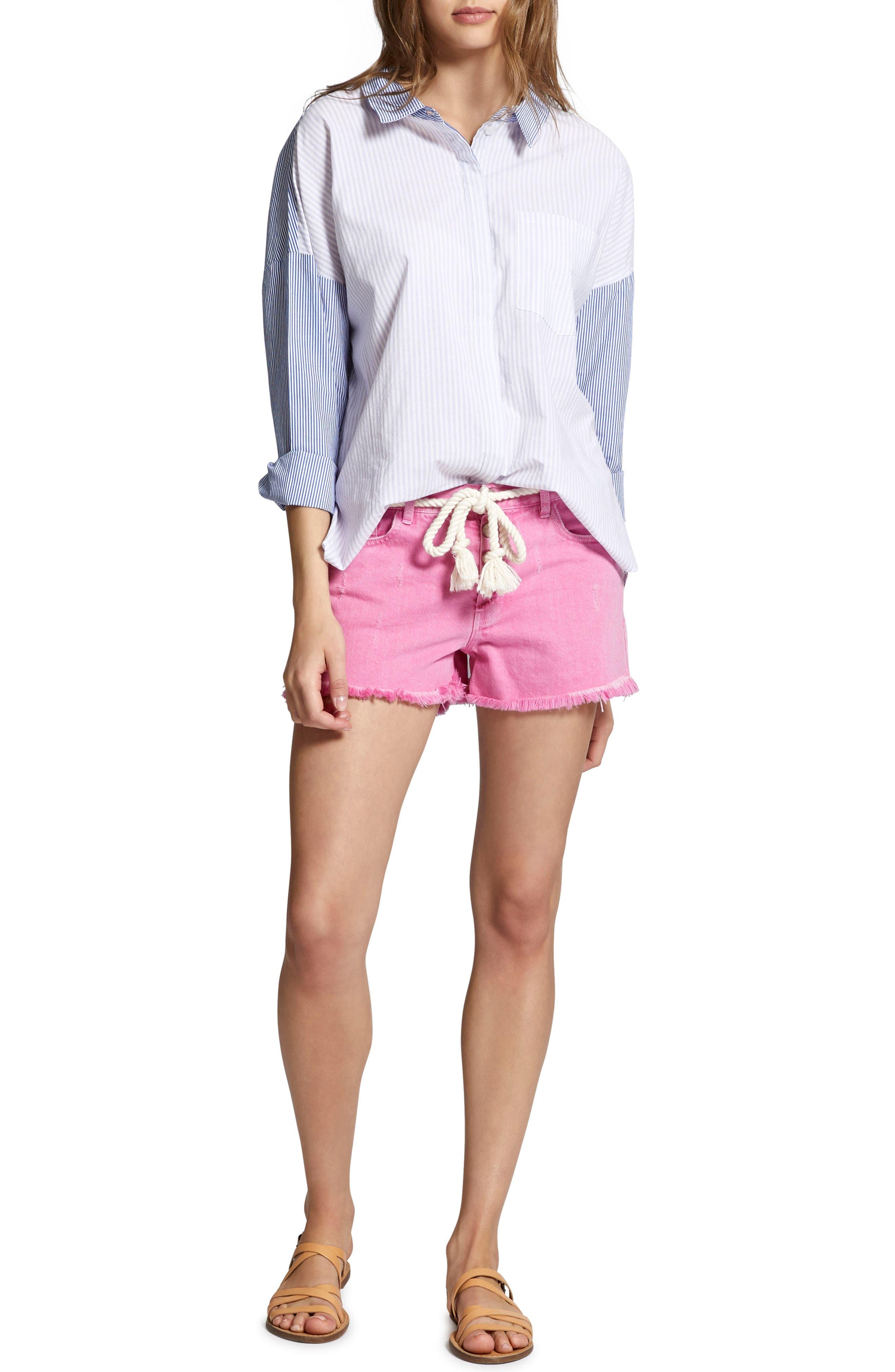 Tie Back Mixed Stripe Boyfrend Shirt,                             Alternate thumbnail 4, color,                             Core Stripe