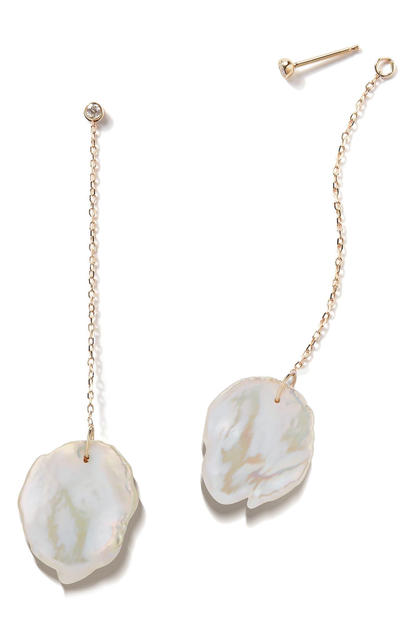 Flat Pearl & Diamond Linear Drop Earrings,                             Alternate thumbnail 3, color,                             Yellow Gold/ Pearl