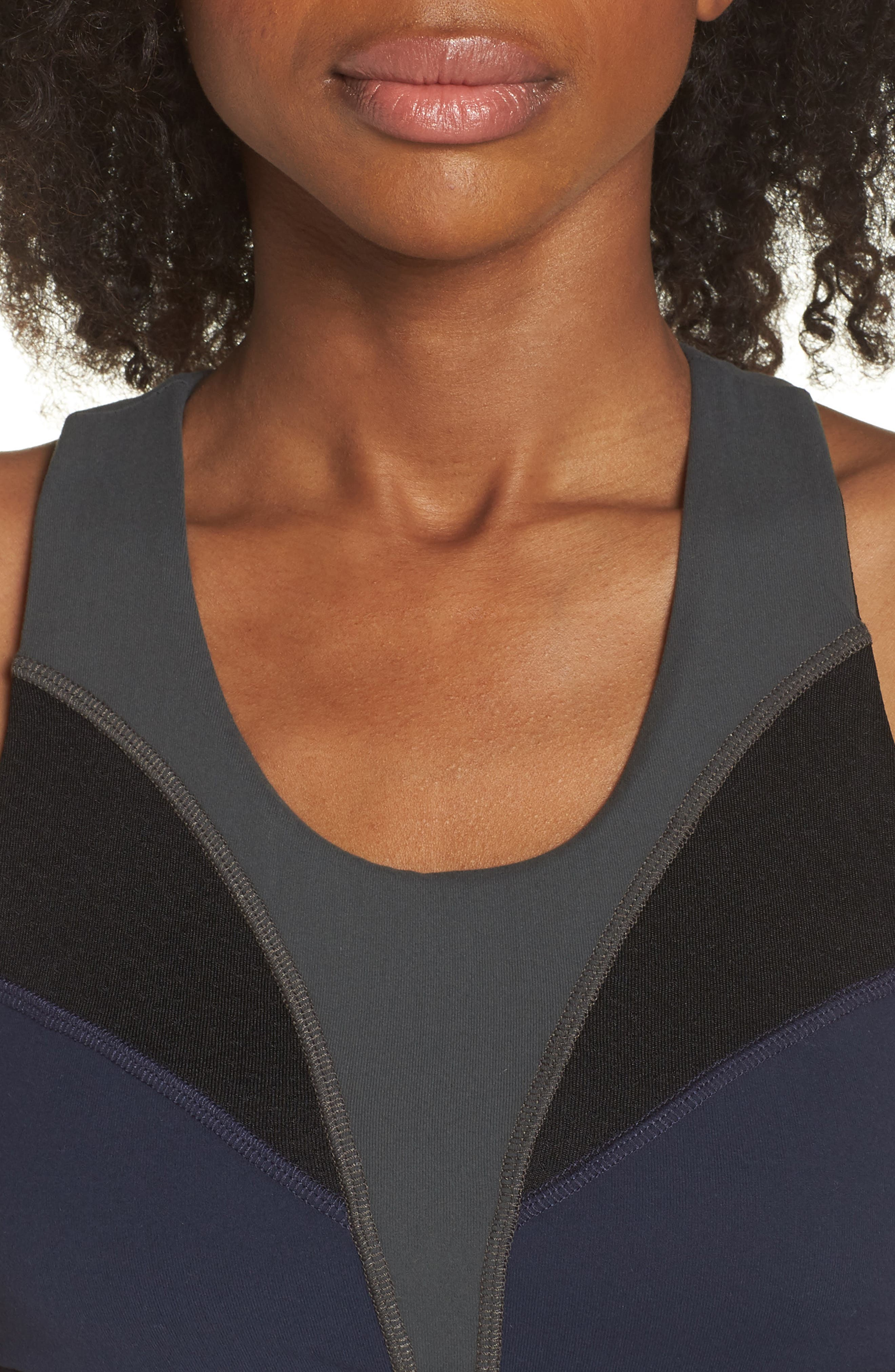 BoomBoom Athletica Brushed Tricolor Bra,                             Alternate thumbnail 4, color,                             Navy/ Black/ Green
