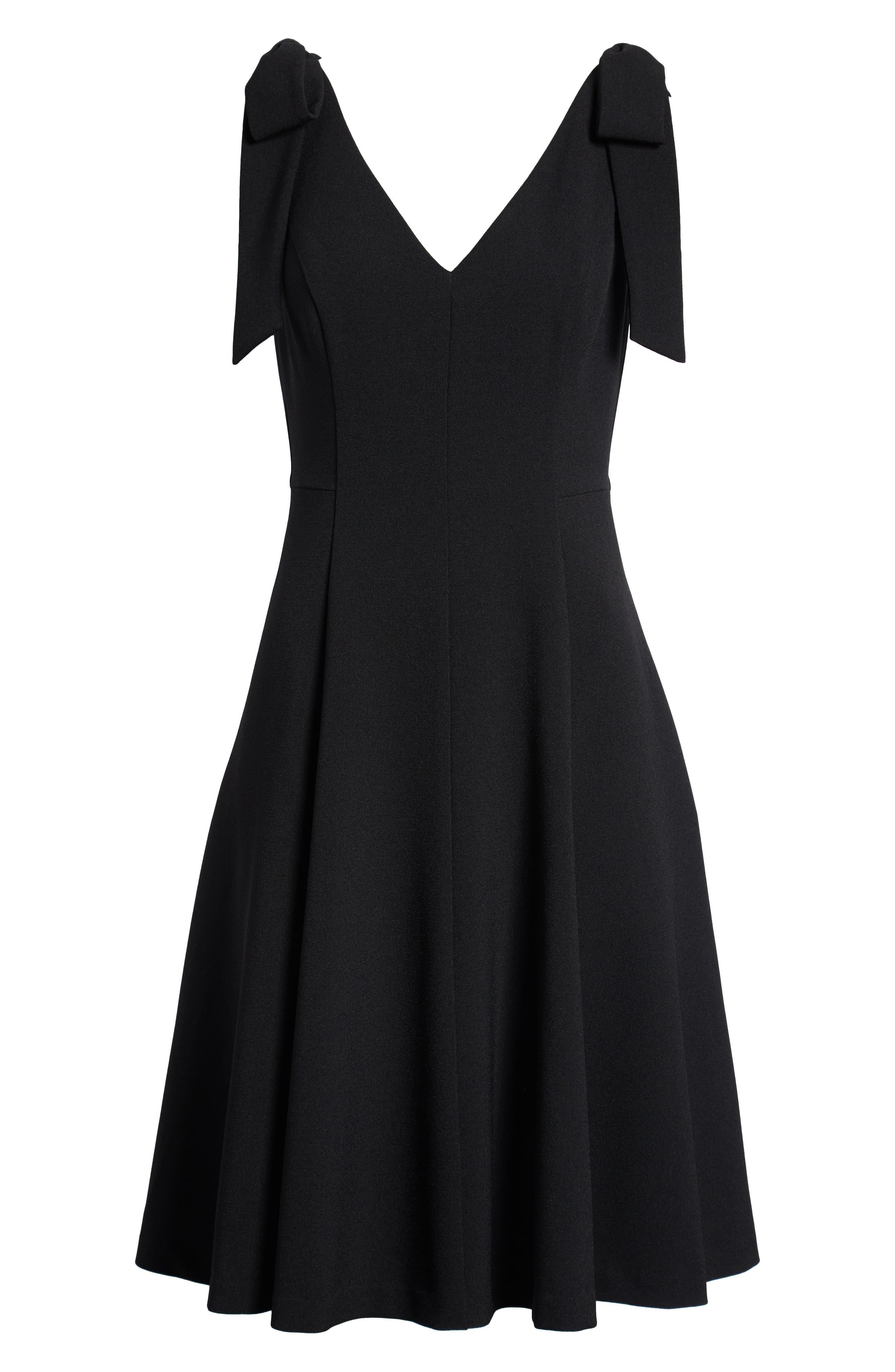 Tie Shoulder Fit & Flare Dress,                             Alternate thumbnail 7, color,                             Black