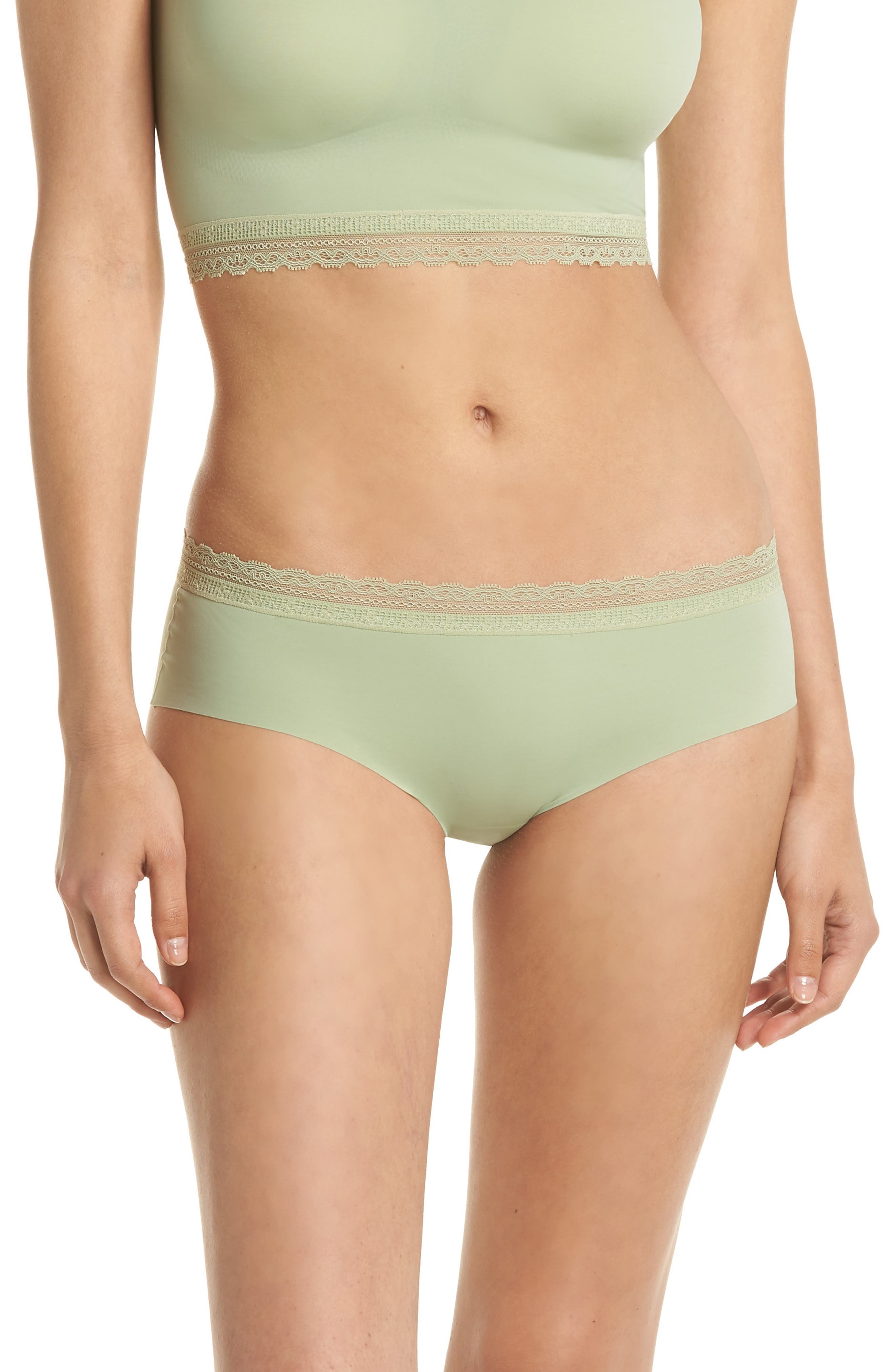 Almost Naked Lace Trim Hipster Briefs,                             Main thumbnail 1, color,                             Green Tea