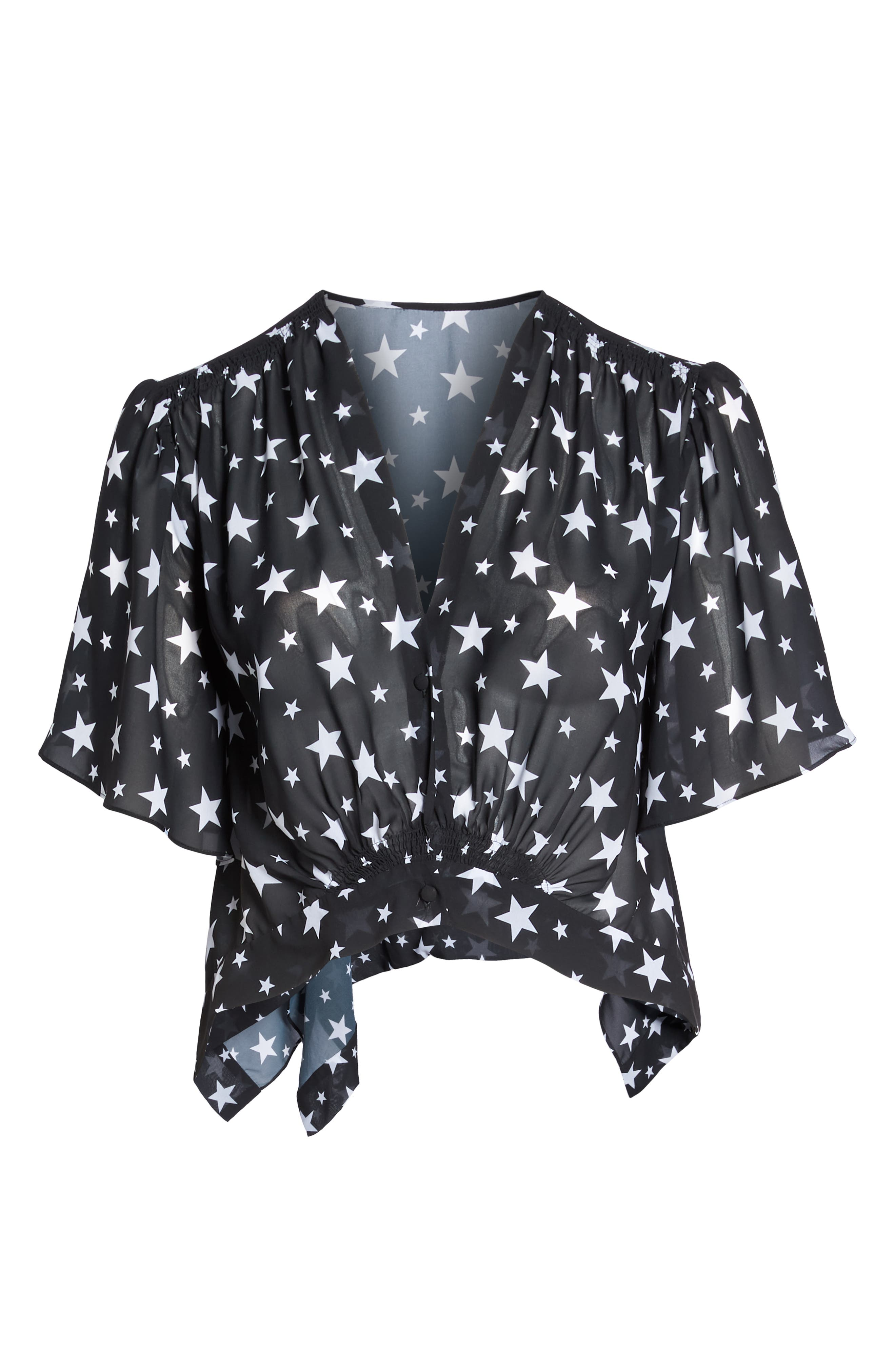 Cannes Cover-Up Top,                             Alternate thumbnail 6, color,                             Black Star