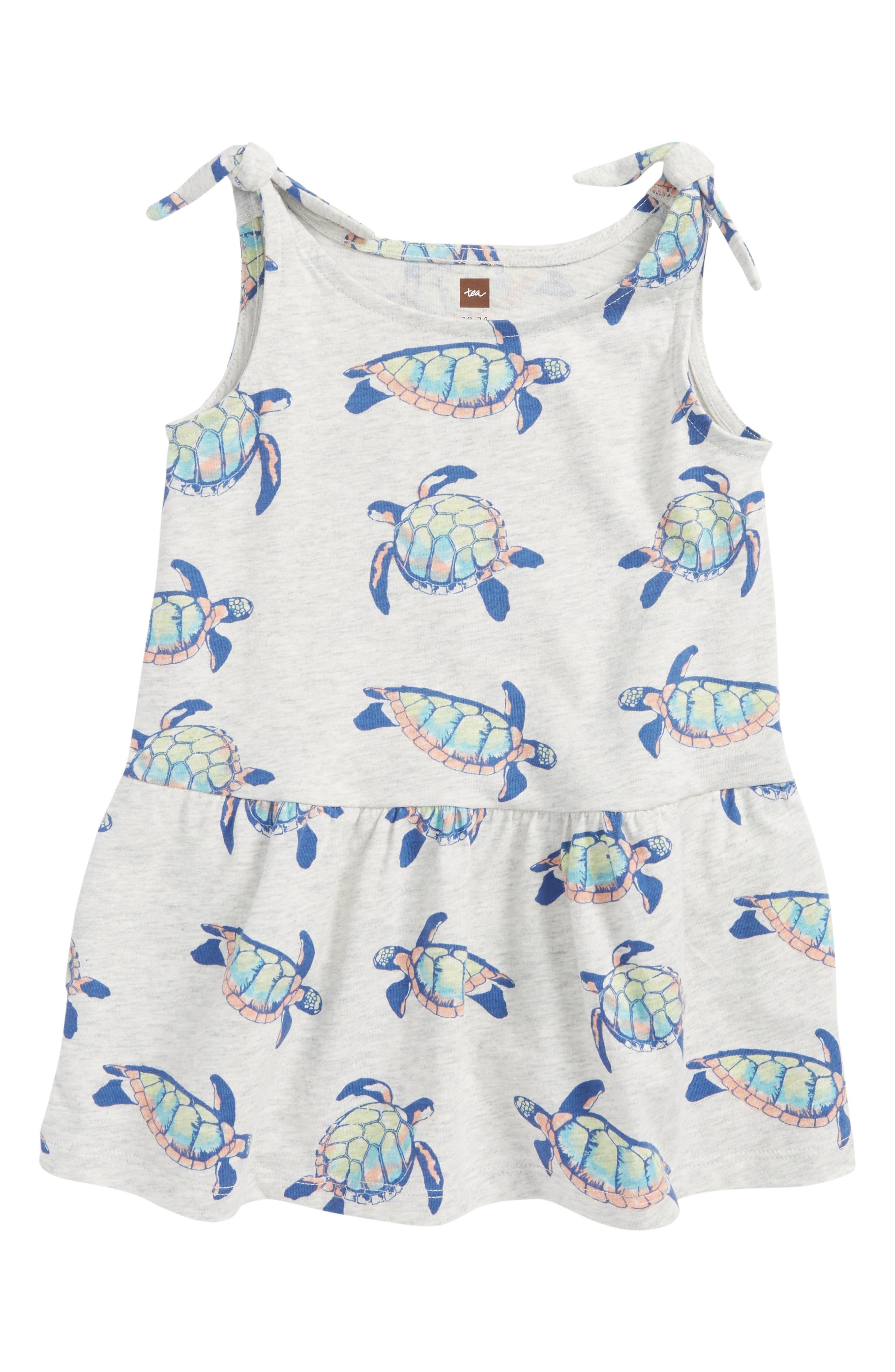 Tie Shoulder Dress,                         Main,                         color, Hawaiian Sea Turtles