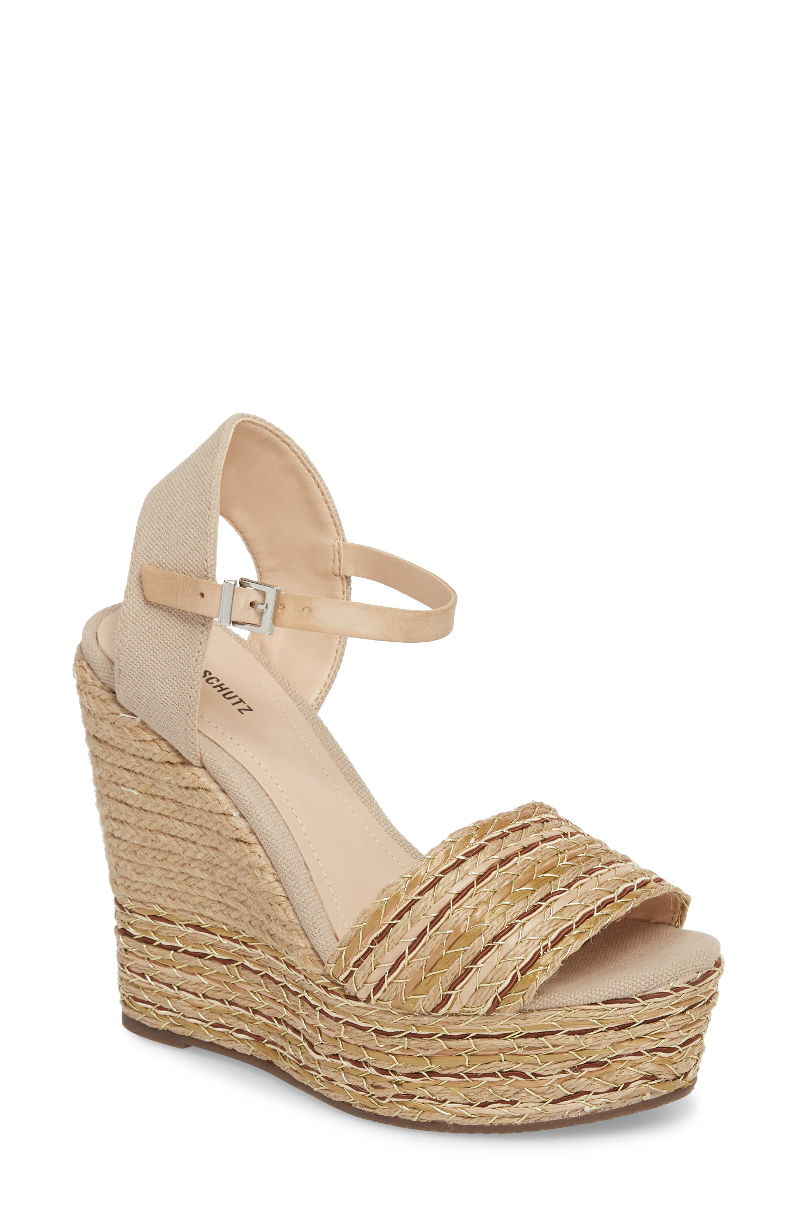 Rilark Platform Wedge Sandal,                         Main,                         color, Coco Fabric