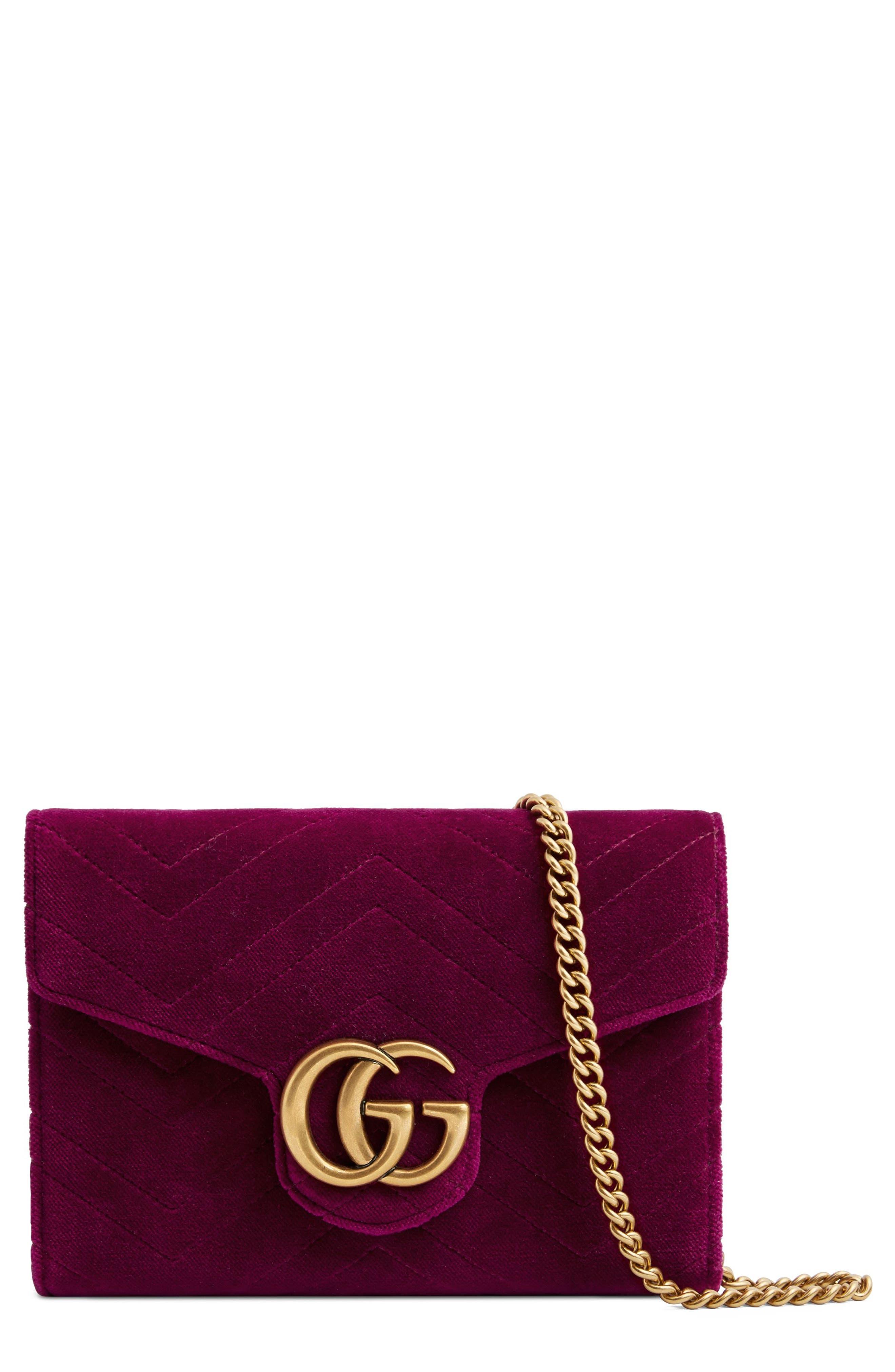 GG Marmont 2.0 Matelassé Velvet Wallet on a Chain,                             Main thumbnail 1, color,                             Fucsia/ Viola