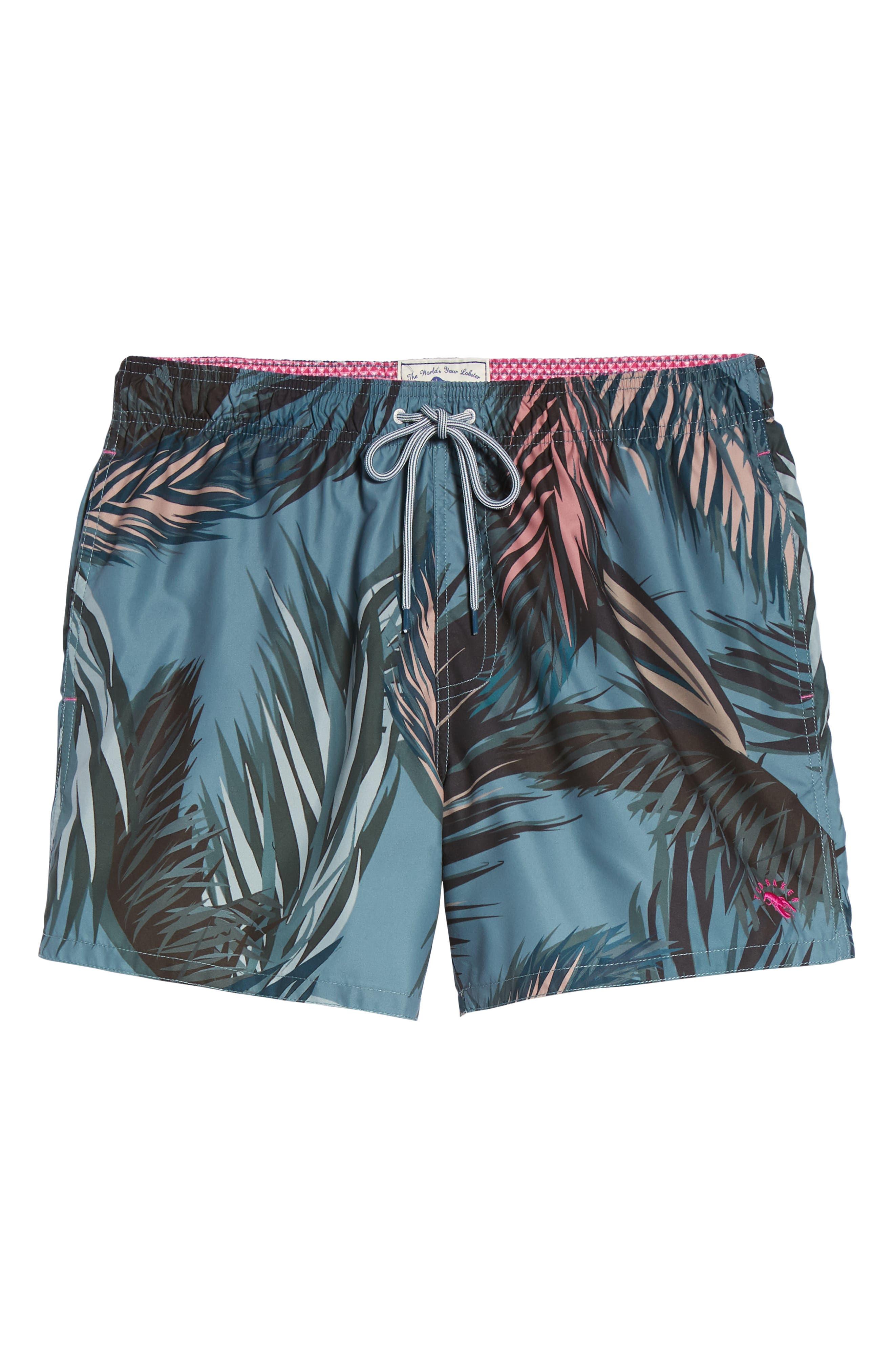 Raynebo Slim Fit Palm Leaf Swim Trunks,                             Alternate thumbnail 6, color,                             Dark Green