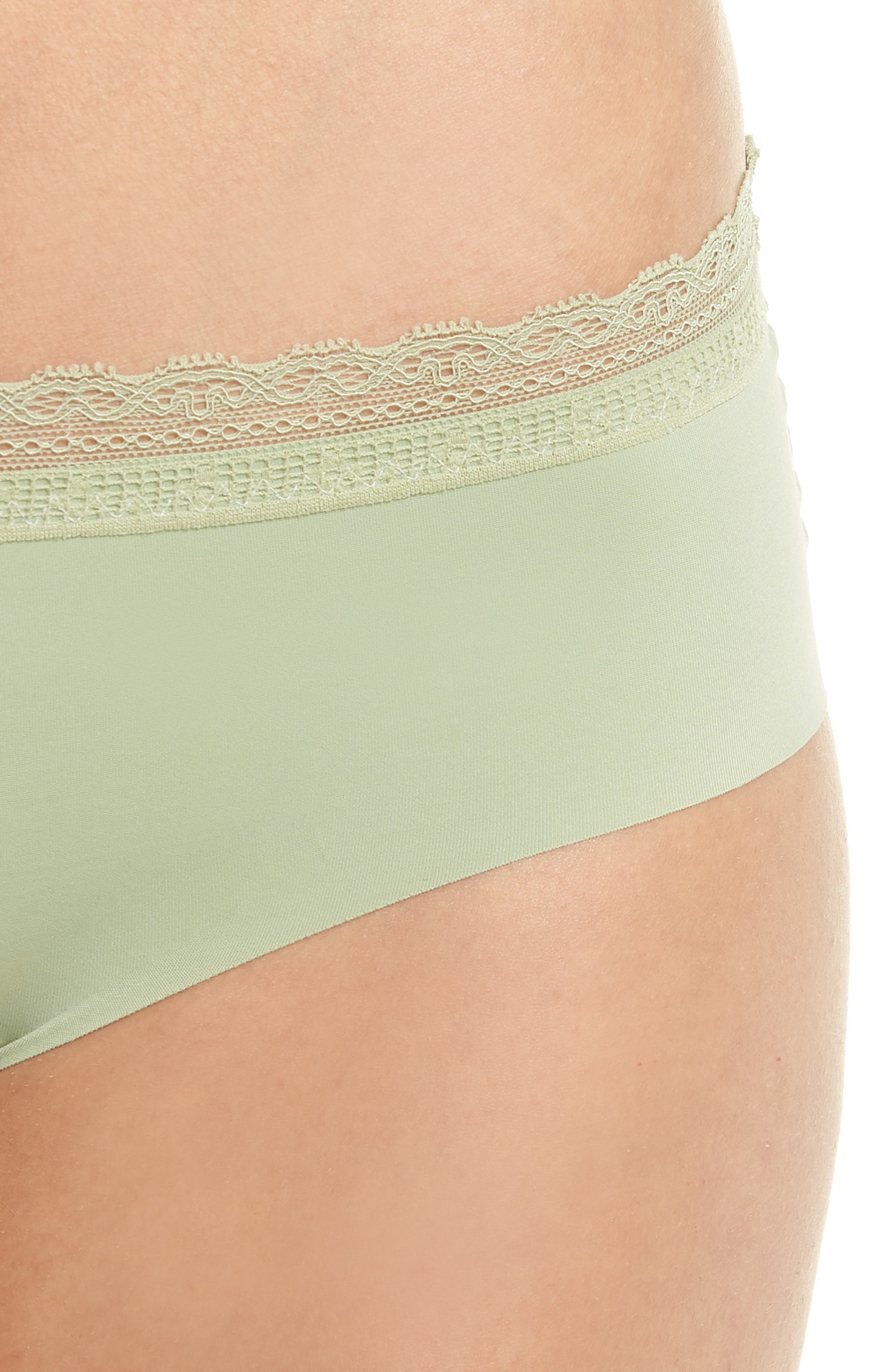 Almost Naked Lace Trim Hipster Briefs,                             Alternate thumbnail 7, color,                             Green Tea