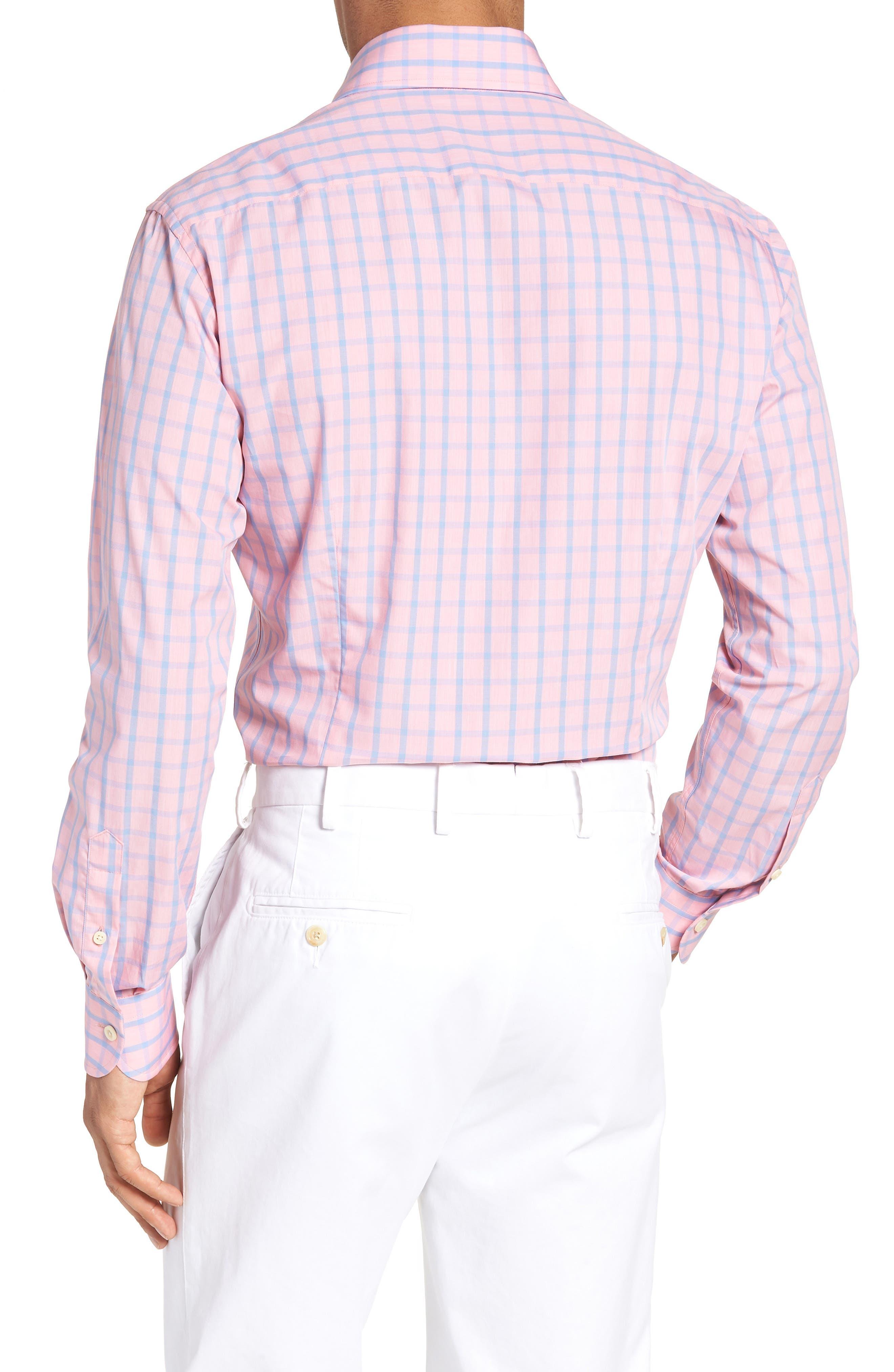 Hayden Trim Fit Windowpane Dress Shirt,                             Alternate thumbnail 2, color,                             Salmon