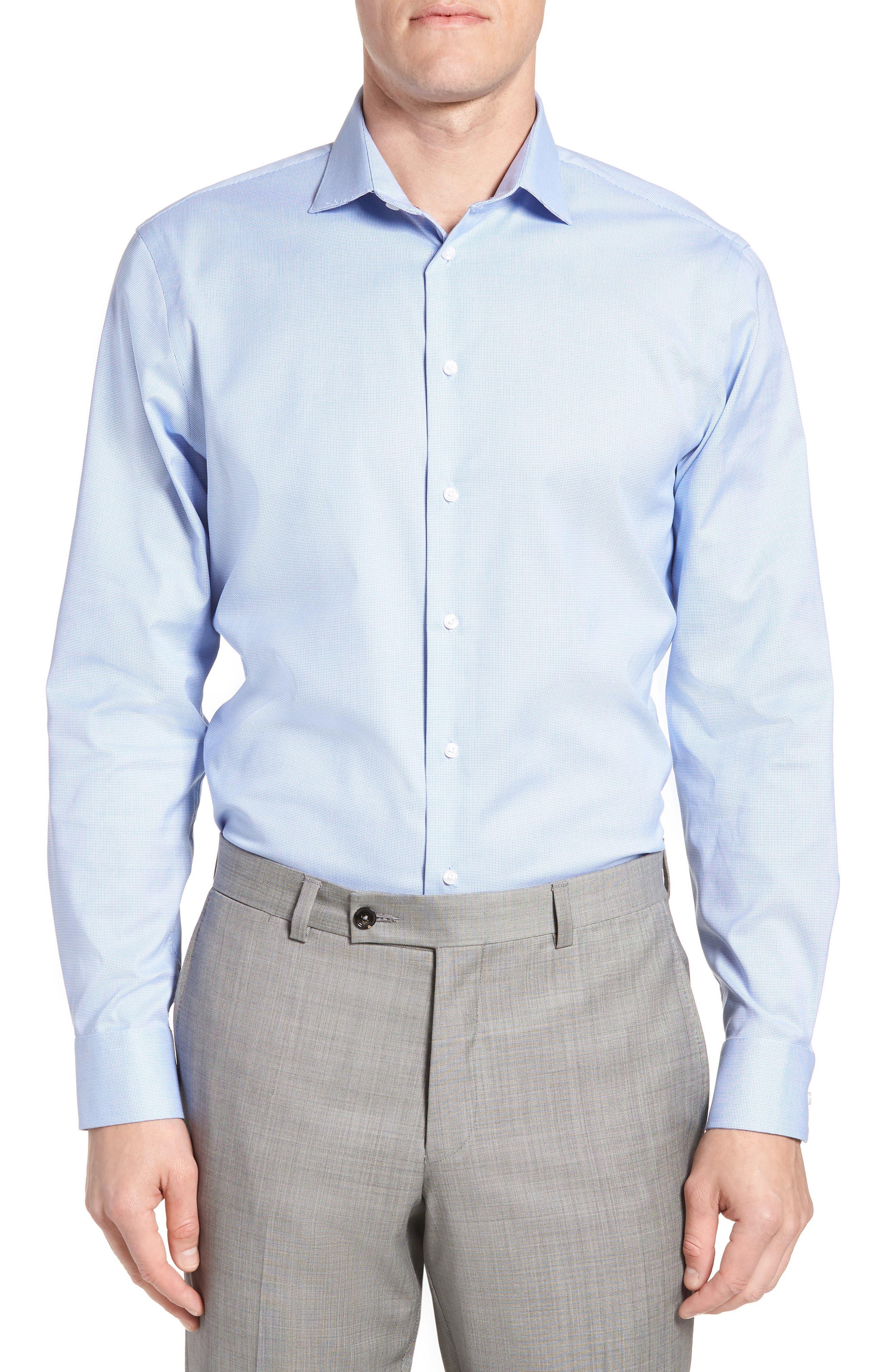 Trim Fit Non-Iron Stretch Dress Shirt,                         Main,                         color, Blue Azurite