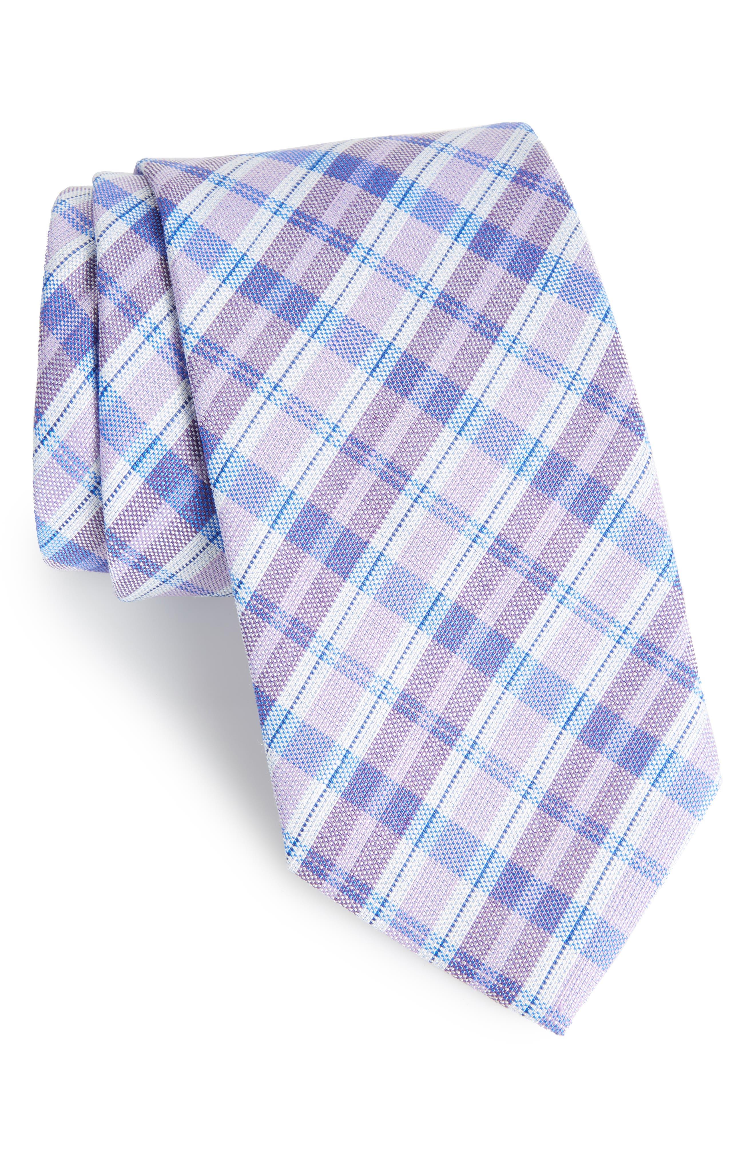 David Donahue Plaid Linen & Silk Tie