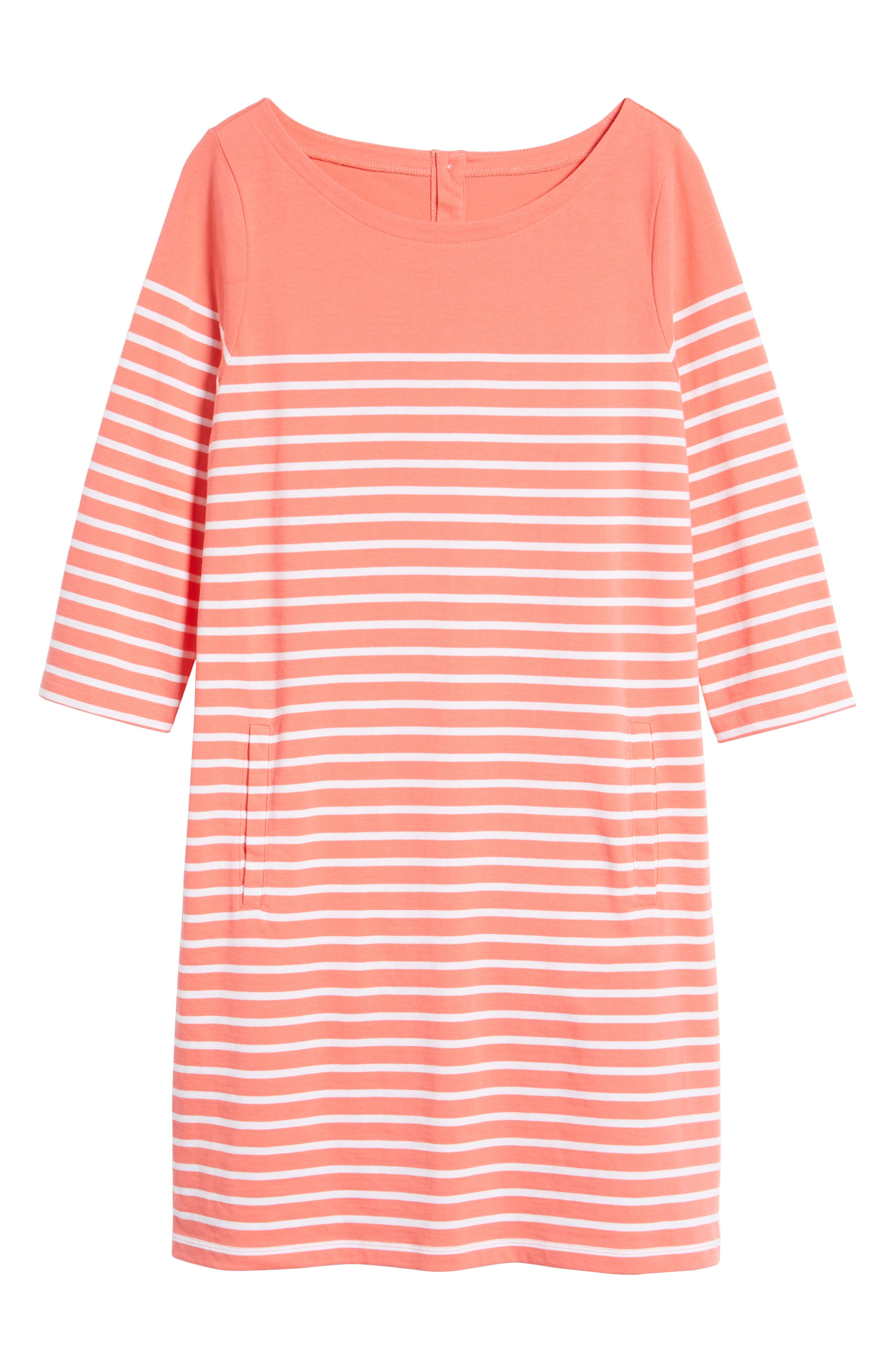 Stripe Cotton Knit Shift Dress,                             Alternate thumbnail 6, color,                             Coral- White Stripe