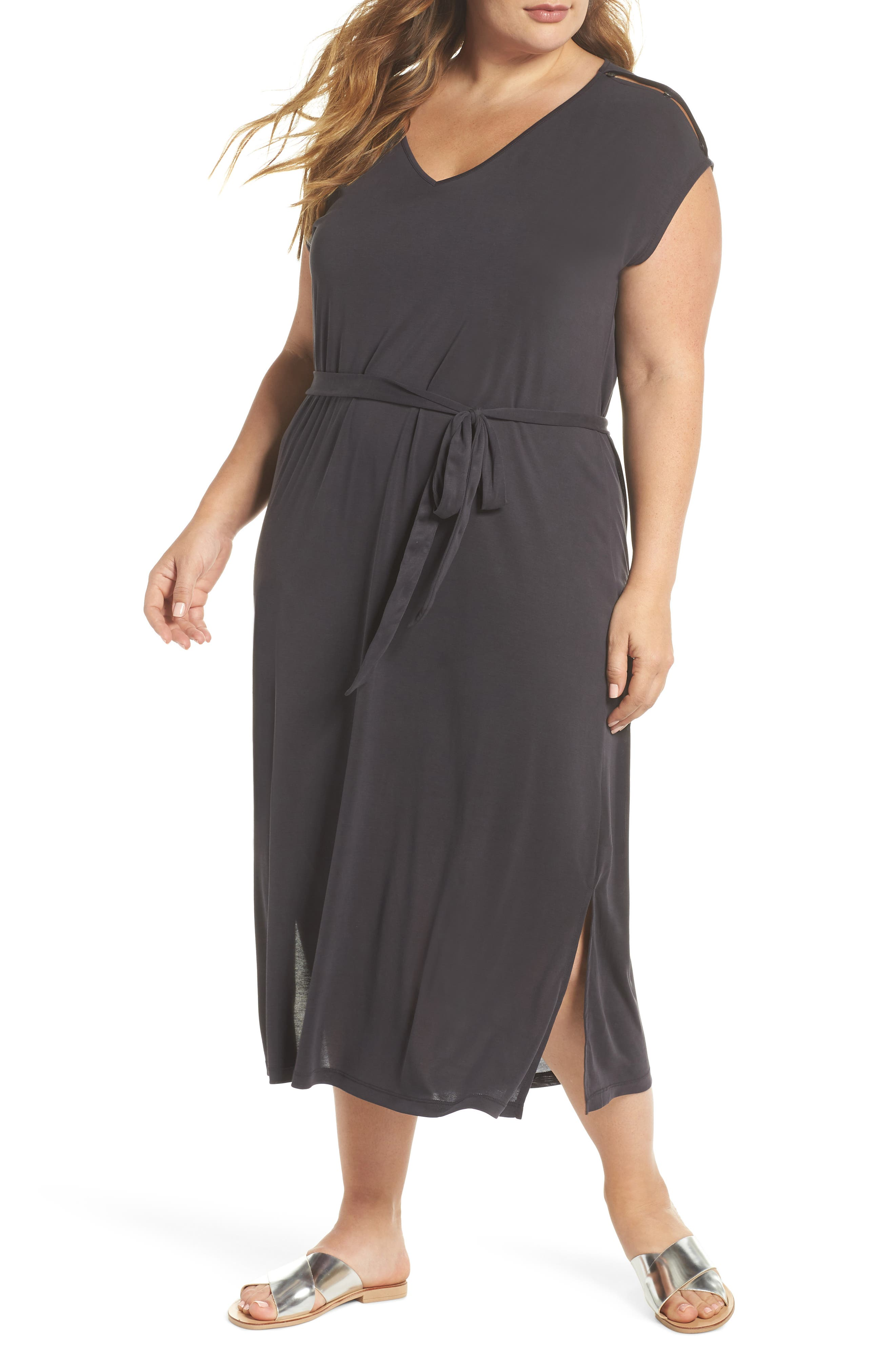 Lucky Brand Button Sleeve Maxi Dress (Plus Size)
