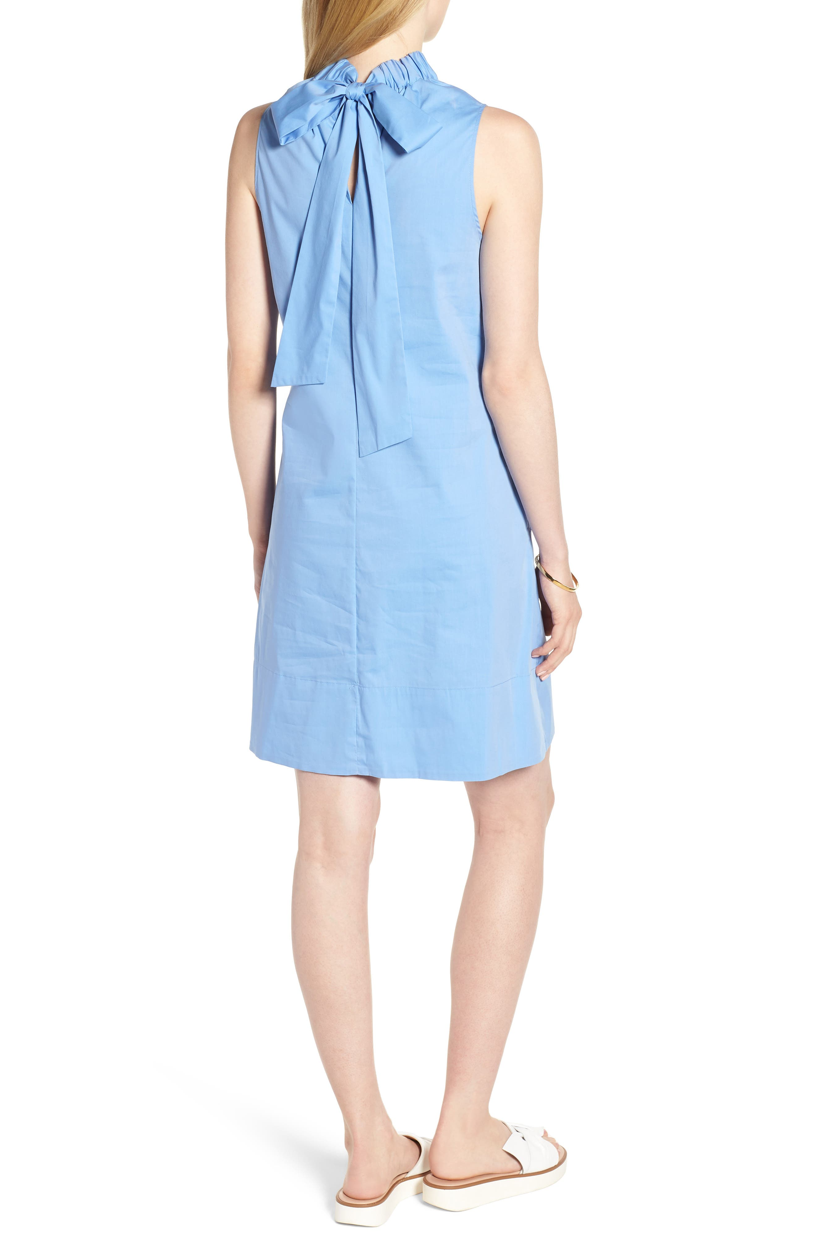 Stretch Cotton Poplin Shift Dress,                             Alternate thumbnail 2, color,                             Blue Cornflower