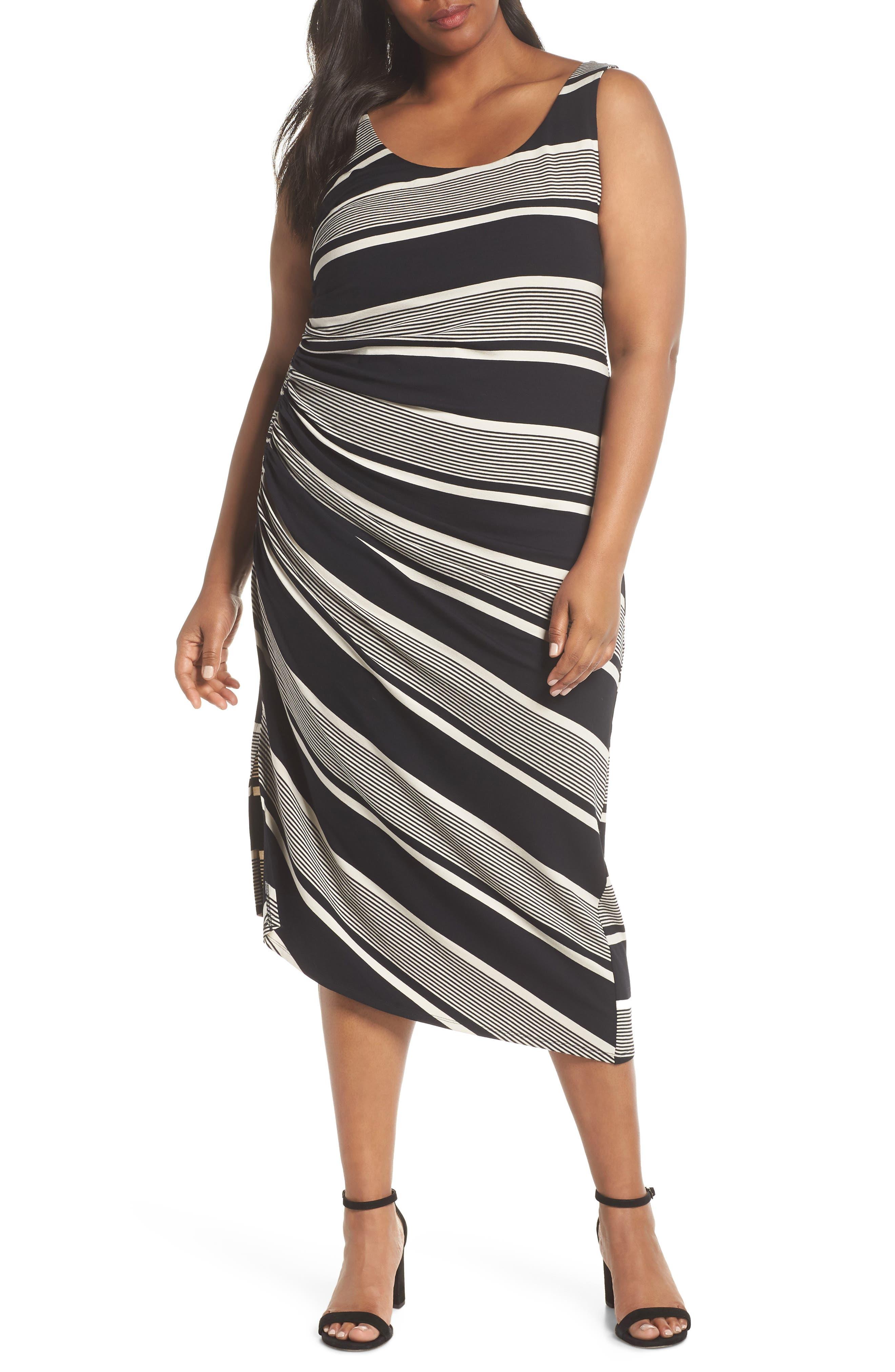 Venue Block Stripe Ruched Body-Con Dress,                             Main thumbnail 1, color,                             Rich Black