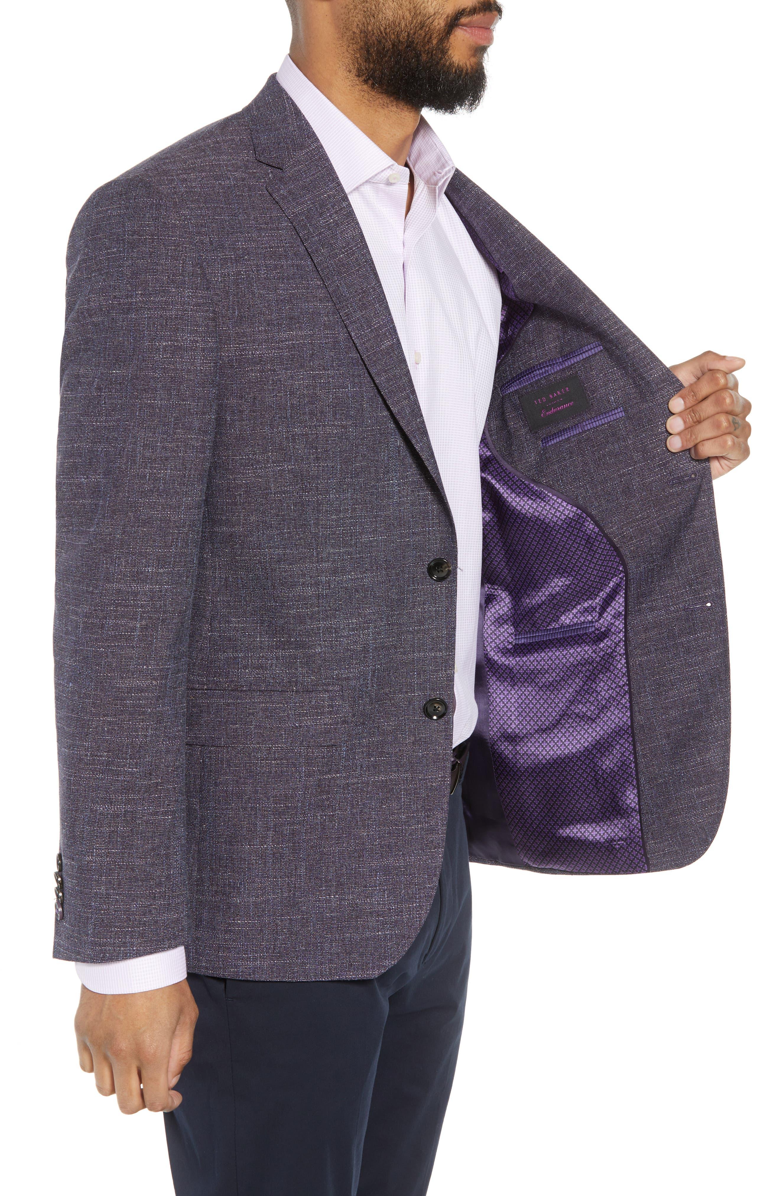 Jay Trim Fit Slubbed Wool, Cotton & Linen Sport Coat,                             Alternate thumbnail 3, color,                             Plum