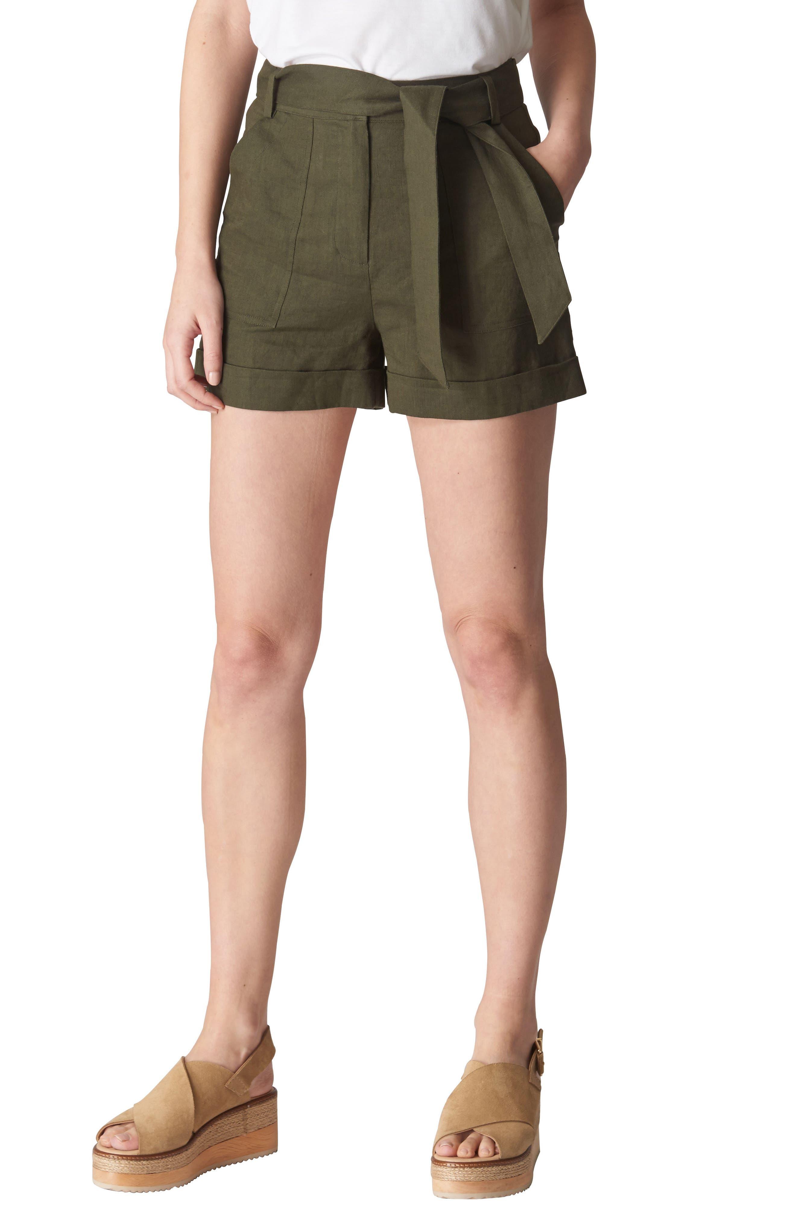 Linen Shorts,                             Main thumbnail 1, color,                             Khaki