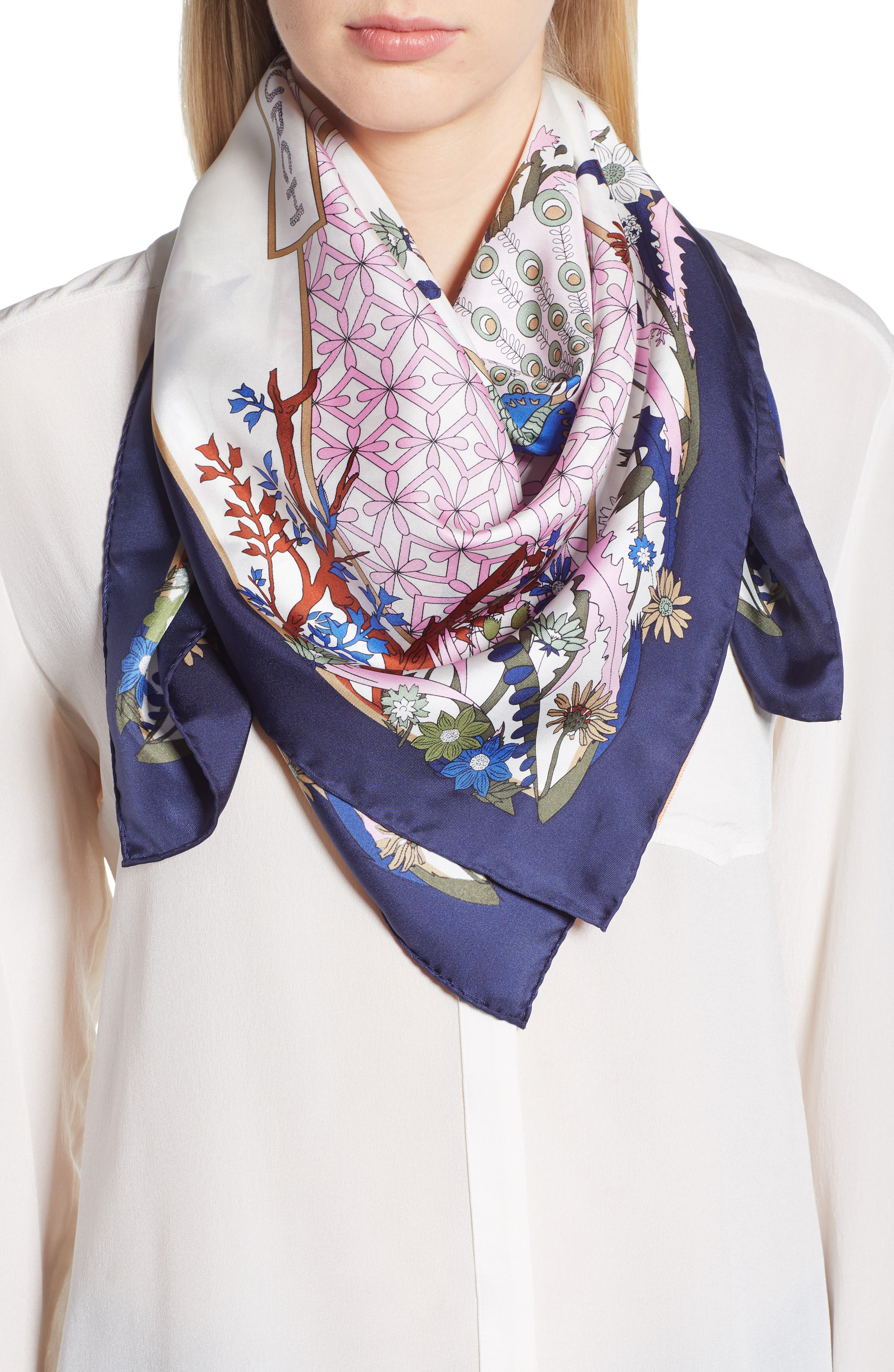 Meadow Folly Silk Square Scarf,                         Main,                         color, Pink Meadow Folly