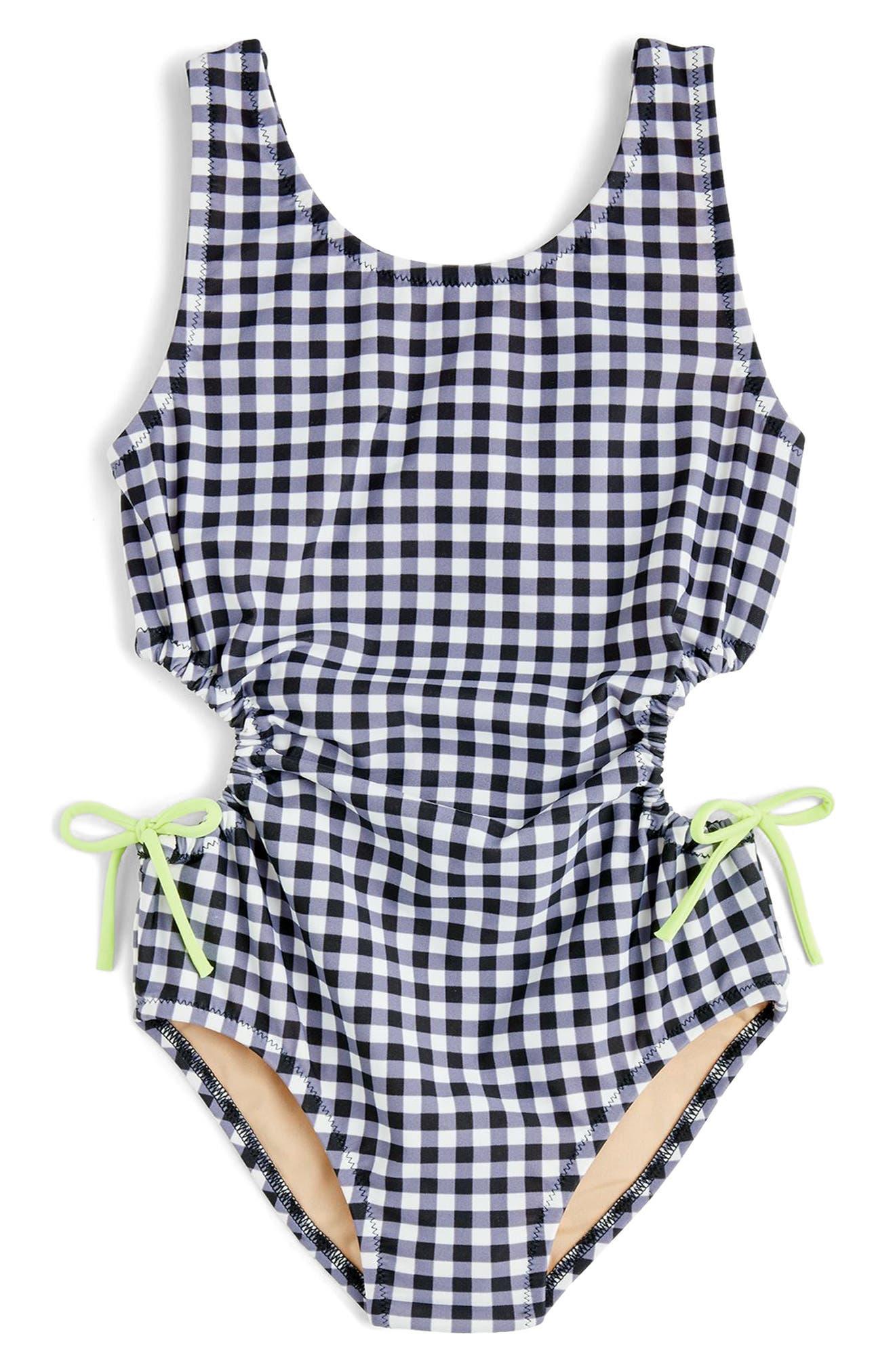 Clara Gingham One-Piece Swimsuit,                             Main thumbnail 1, color,                             Black White Multi