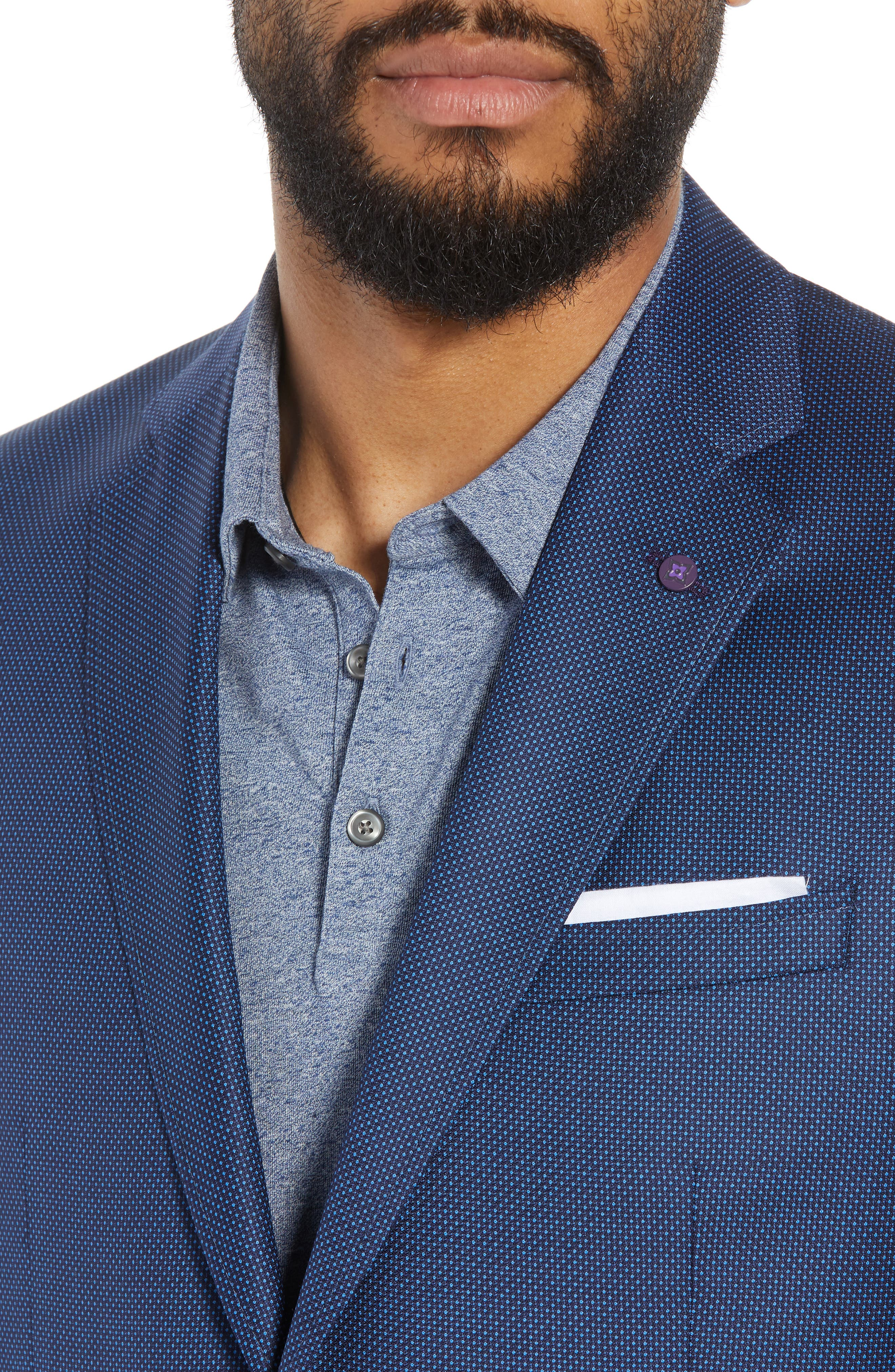 Jay Trim Fit Microdot Wool Sport Coat,                             Alternate thumbnail 4, color,                             Blue