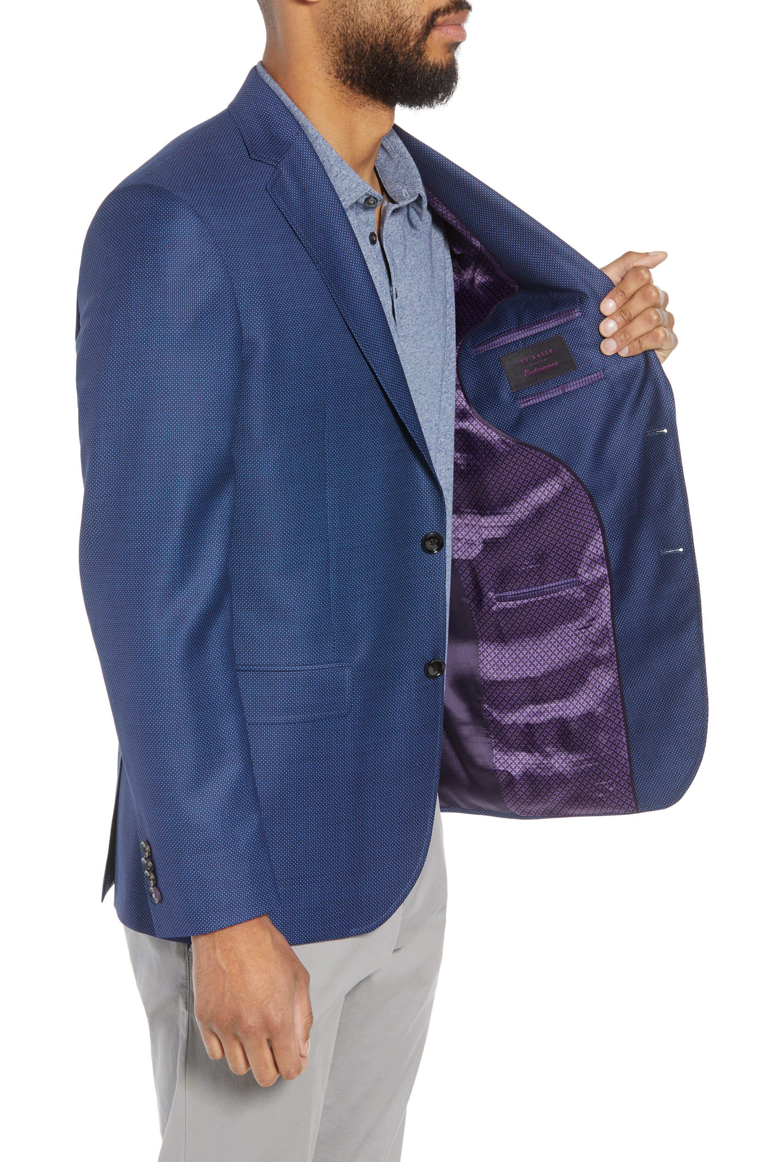Jay Trim Fit Microdot Wool Sport Coat,                             Alternate thumbnail 3, color,                             Blue