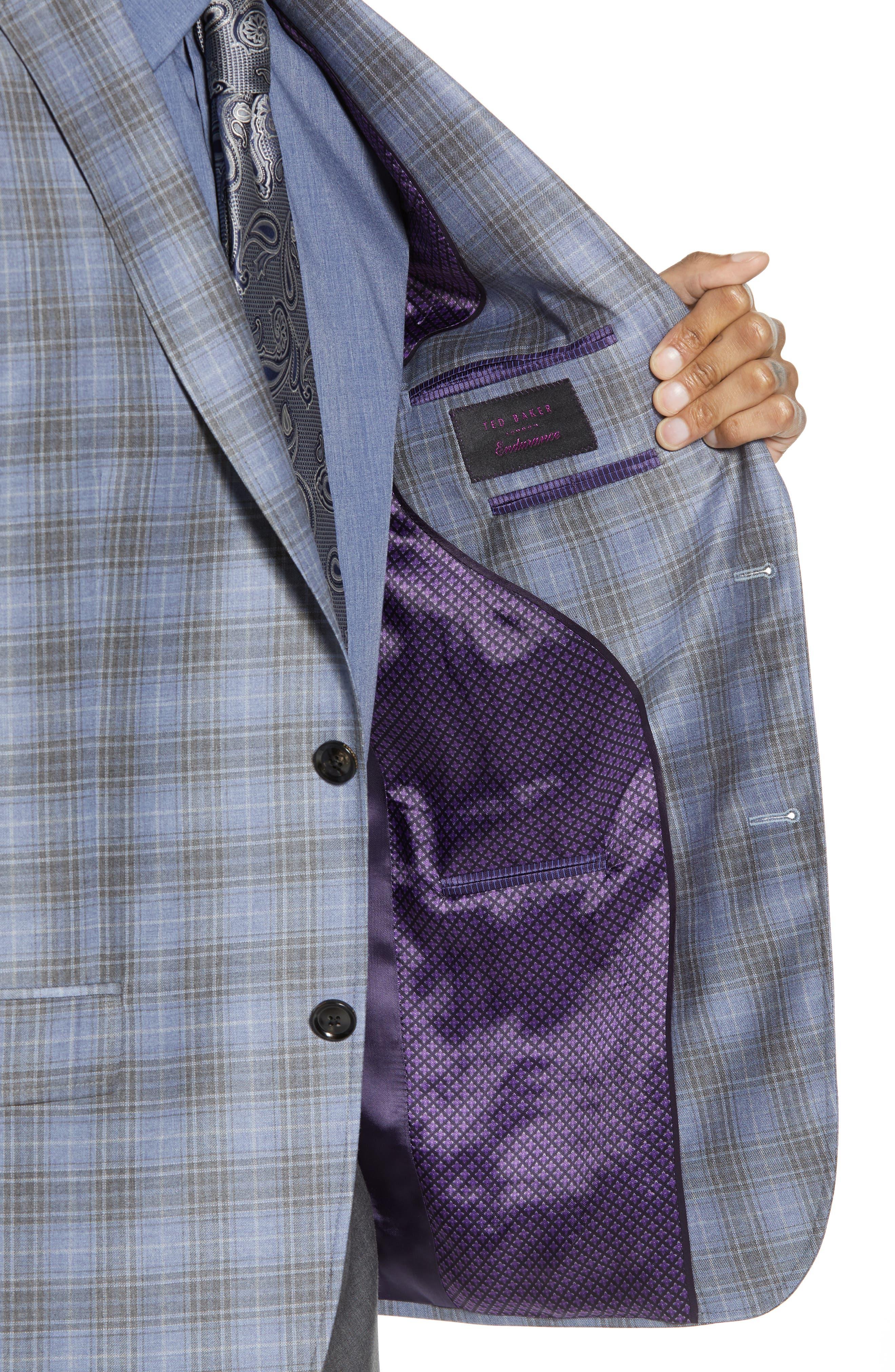 Jay Trim Fit Plaid Wool Sport Coat,                             Alternate thumbnail 4, color,                             Light Blue