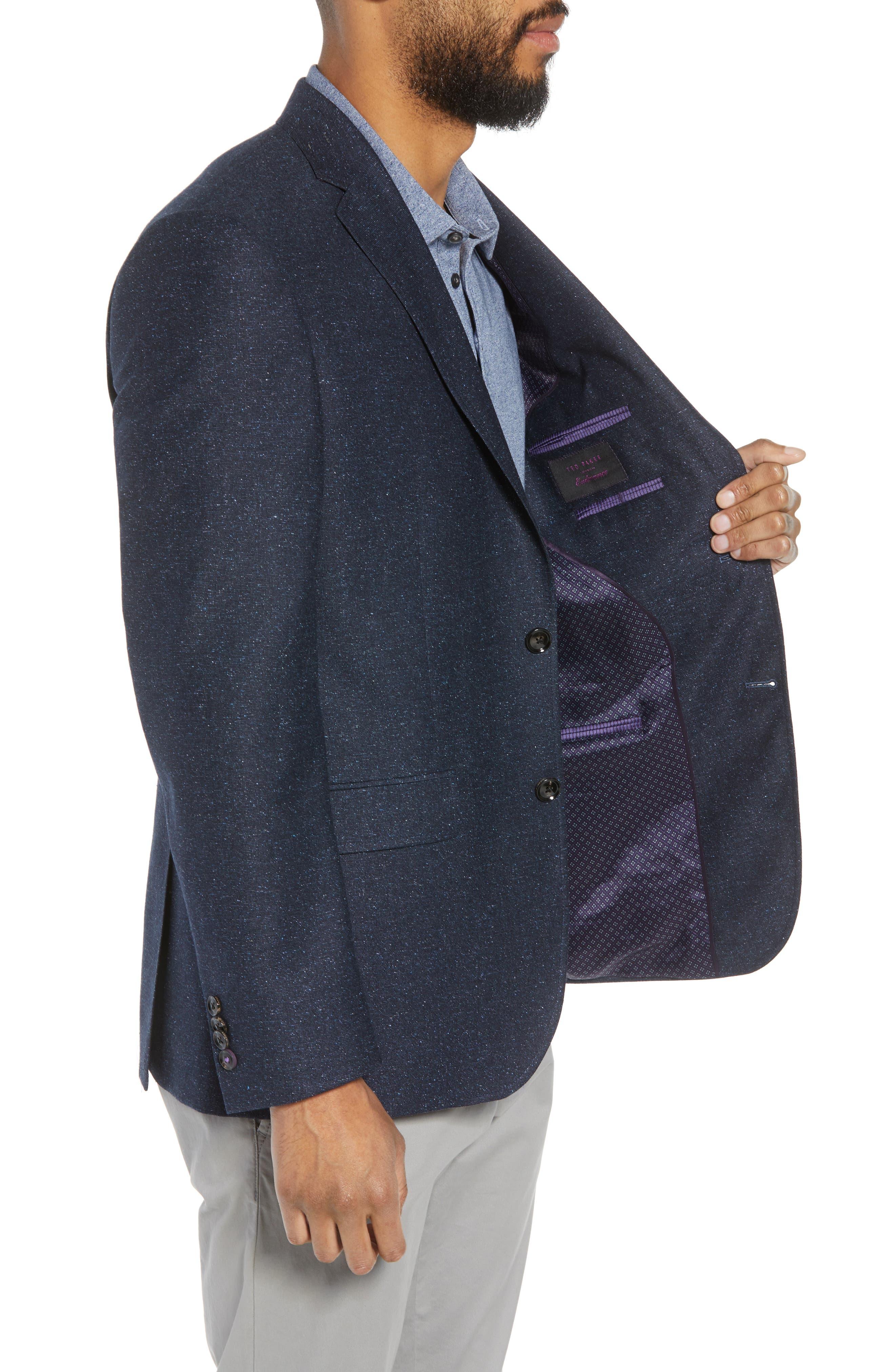 Jay Trim Fit Tweed Wool & Silk Sport Coat,                             Alternate thumbnail 3, color,                             Blue