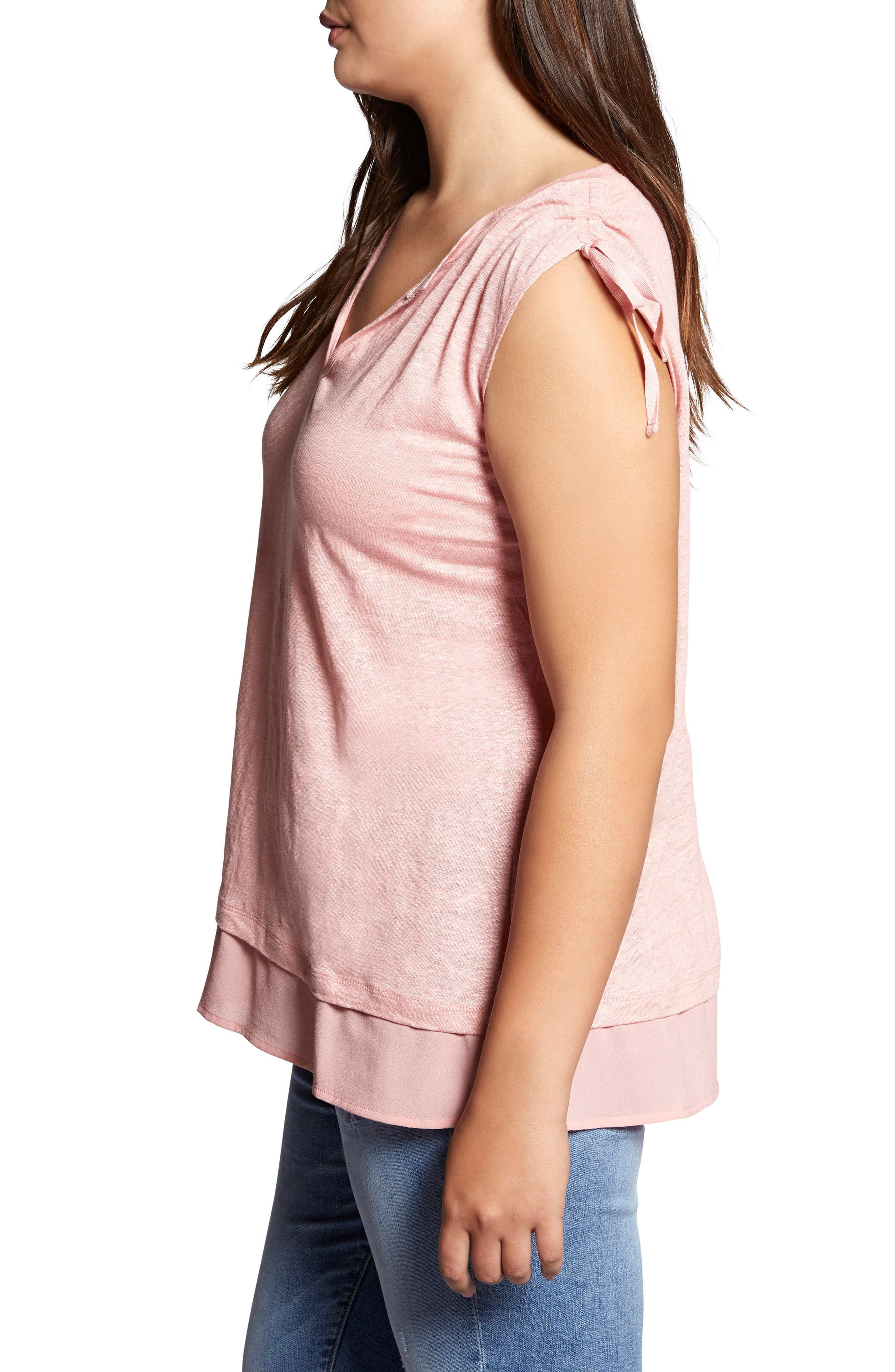 Nora Tiered Hem Linen Top,                             Alternate thumbnail 3, color,                             Adobe