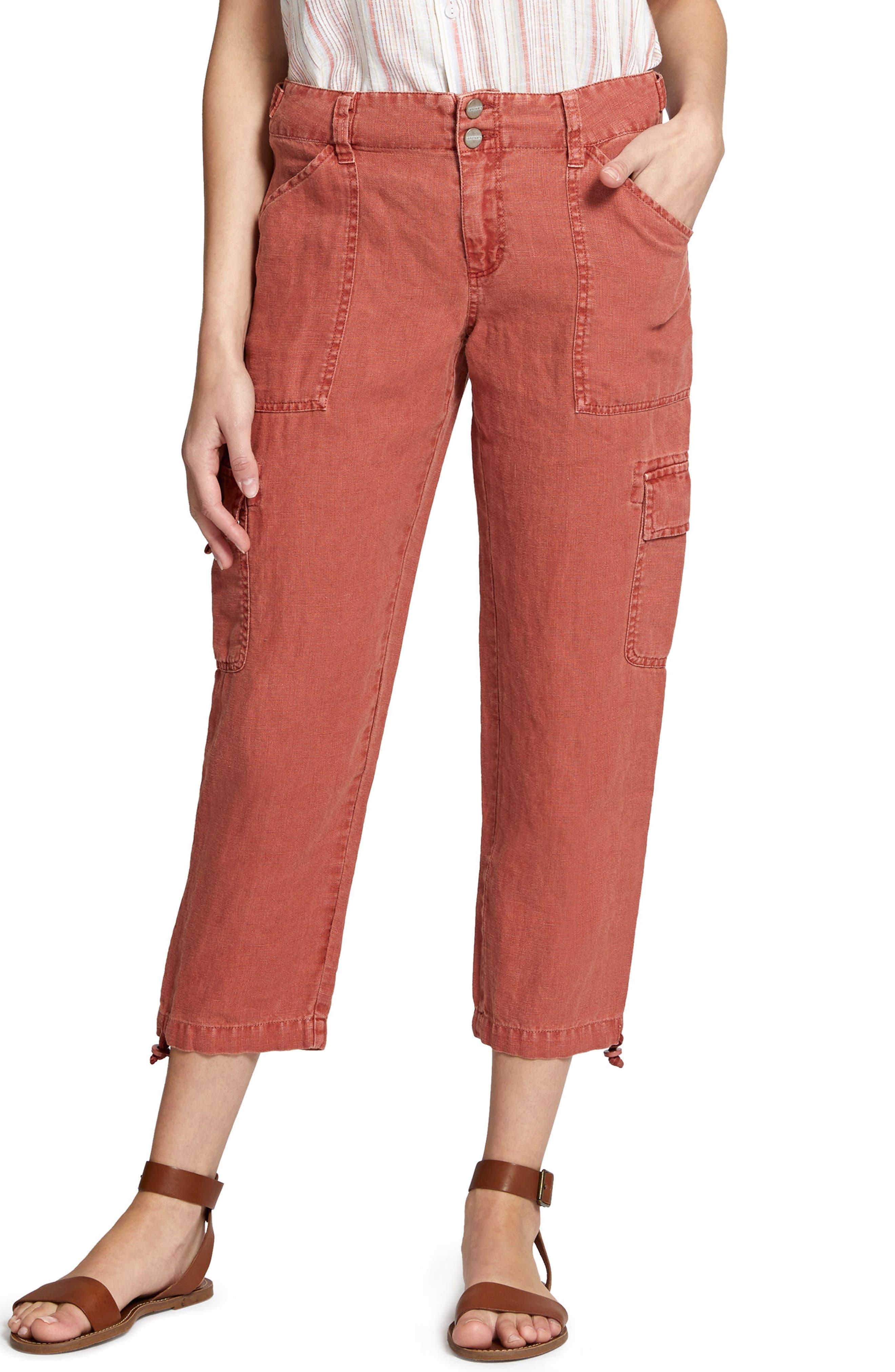 Terrain Linen Crop Cargo Pants,                             Main thumbnail 1, color,                             Terra Cotta