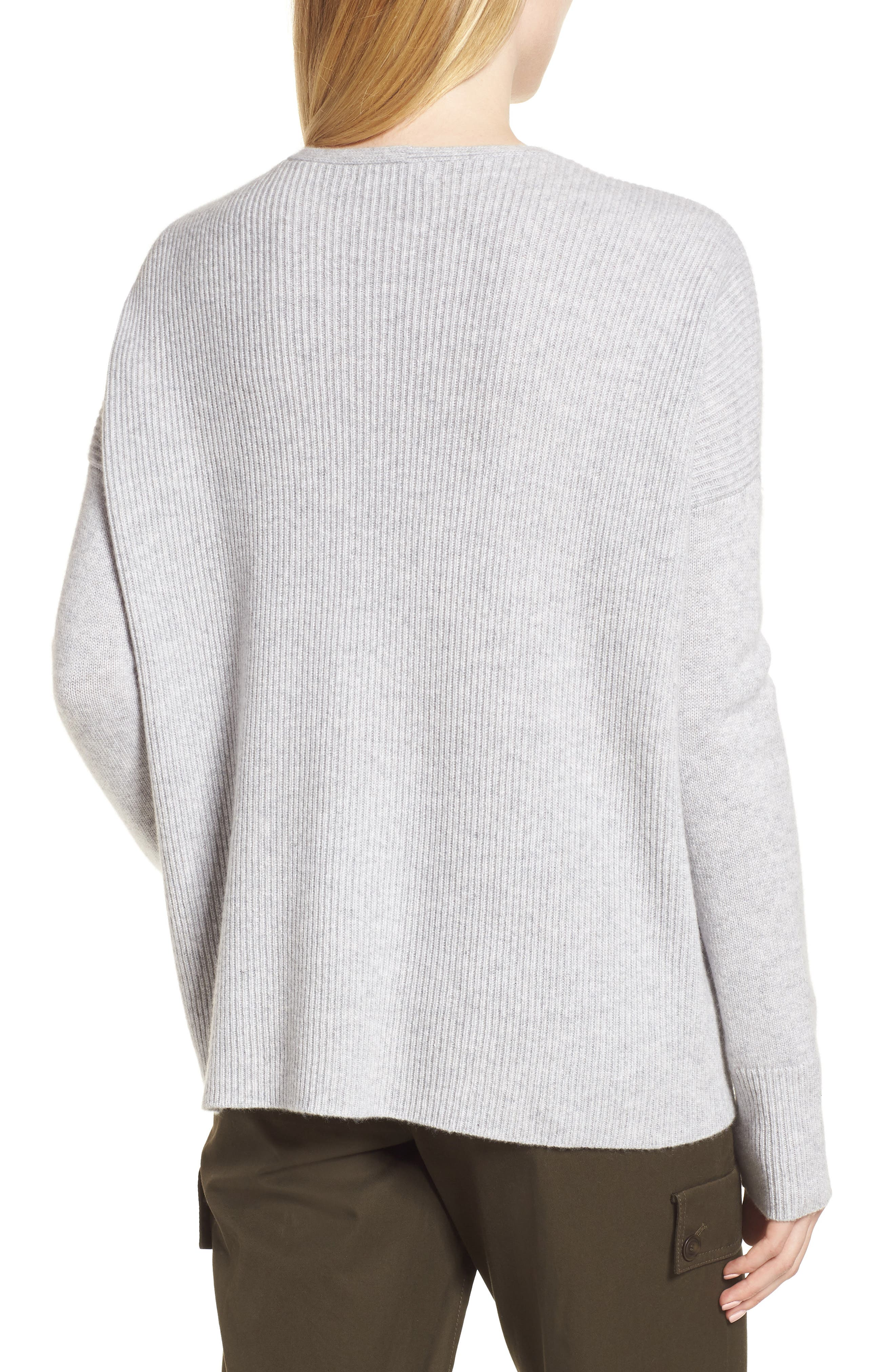 Cashmere Soft Ribbed Pullover Sweater,                             Alternate thumbnail 2, color,                             Grey Clay Heather