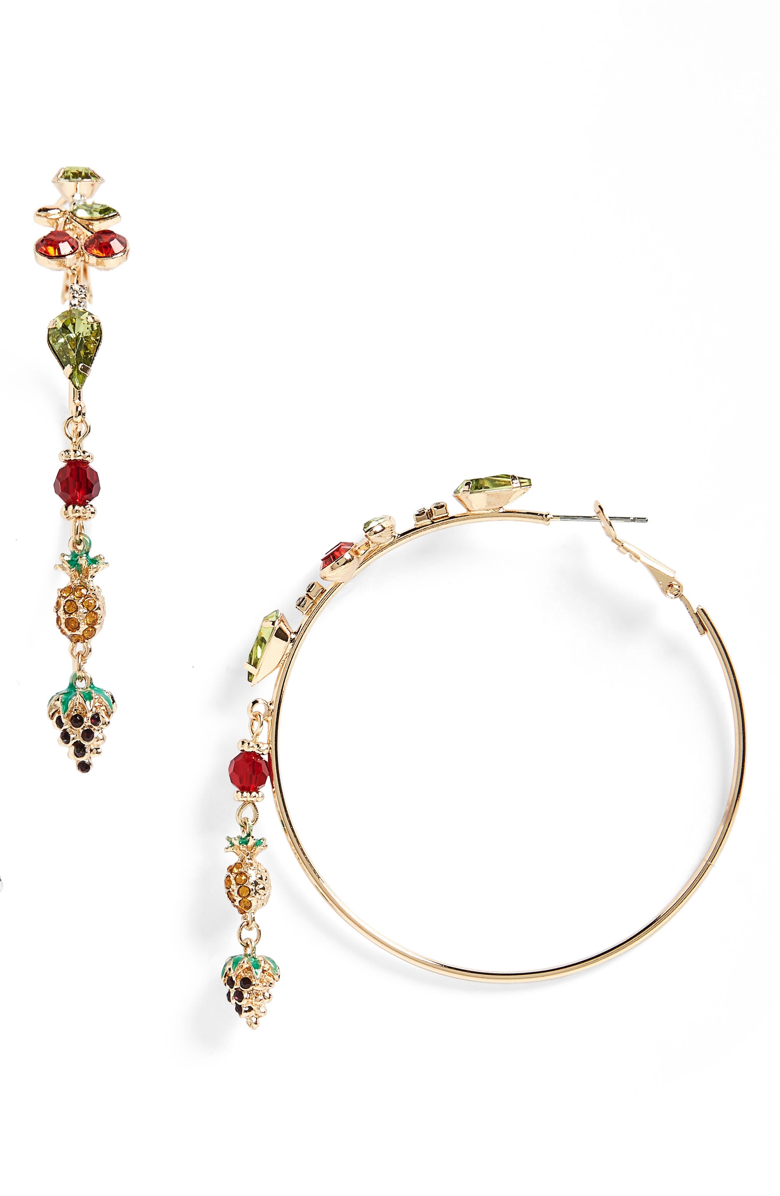 Tropical Hoop Earrings,                             Main thumbnail 1, color,                             Bright Multi