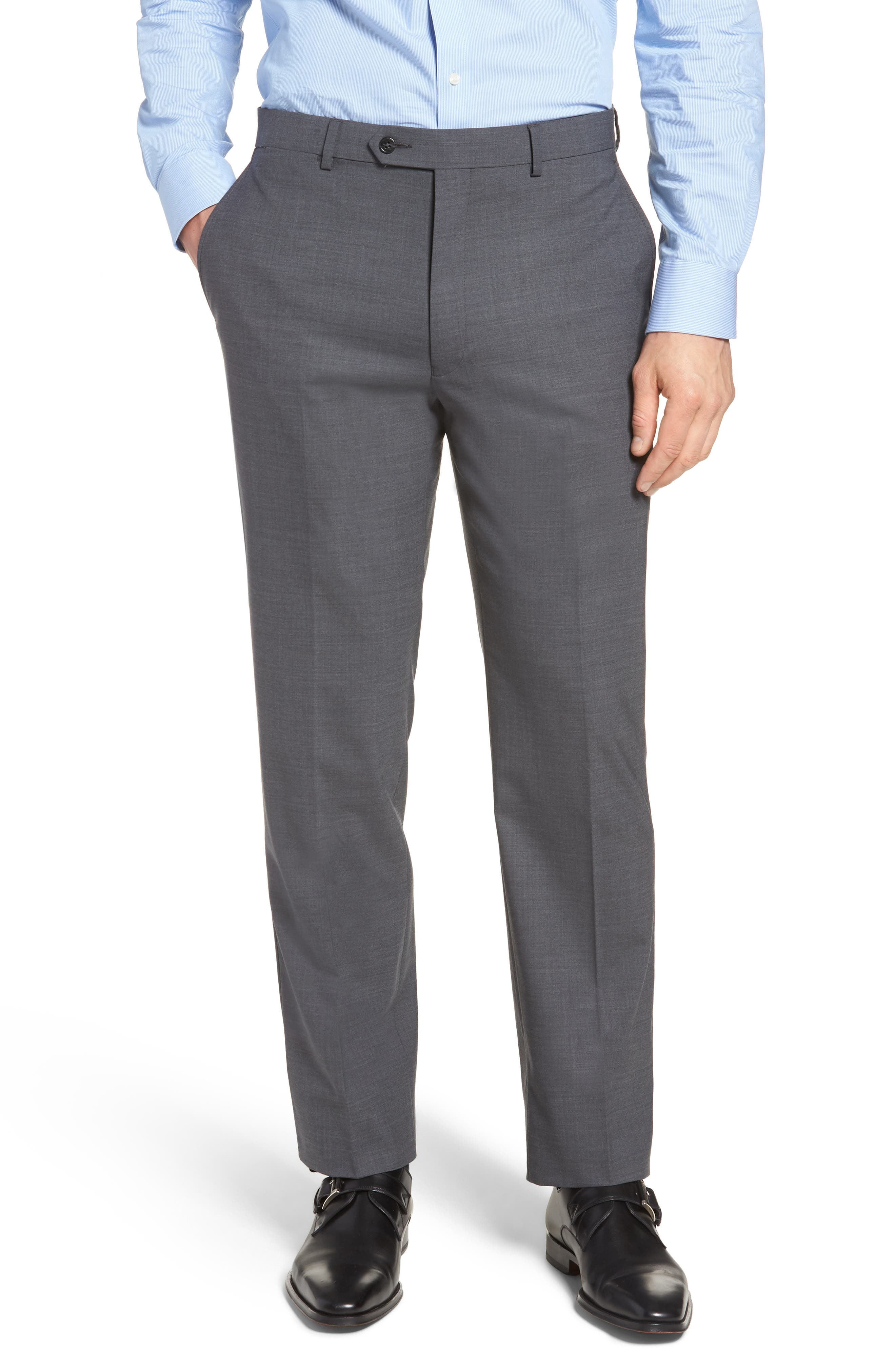 Hart Schaffner Marx New York Flat Front Stretch Solid Wool Trousers