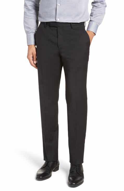 3e2b4d307f9 BOSS Leenon Flat Front Regular Fit Check Wool Trousers