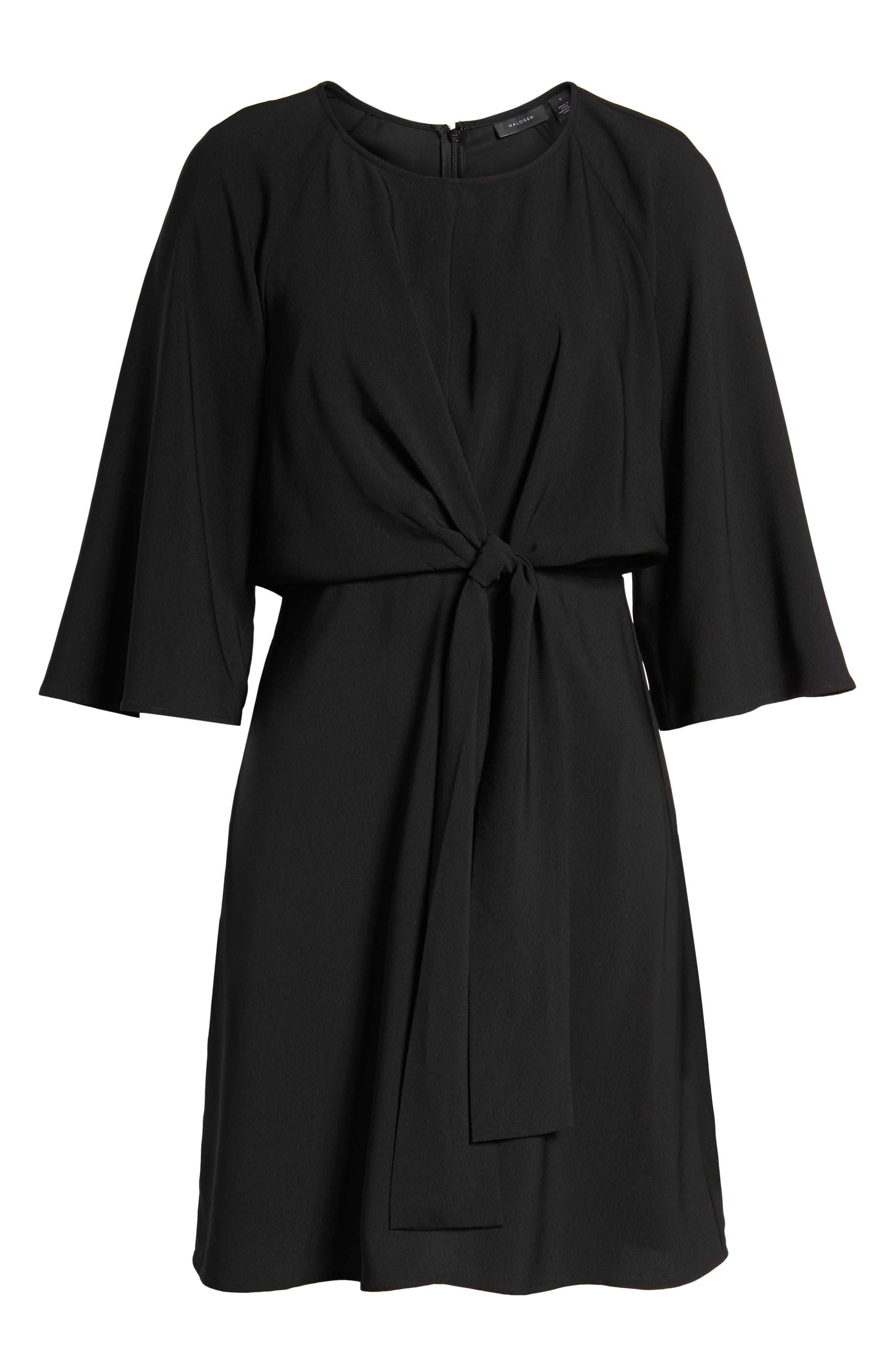 Tie Front Dress,                             Alternate thumbnail 7, color,                             Black