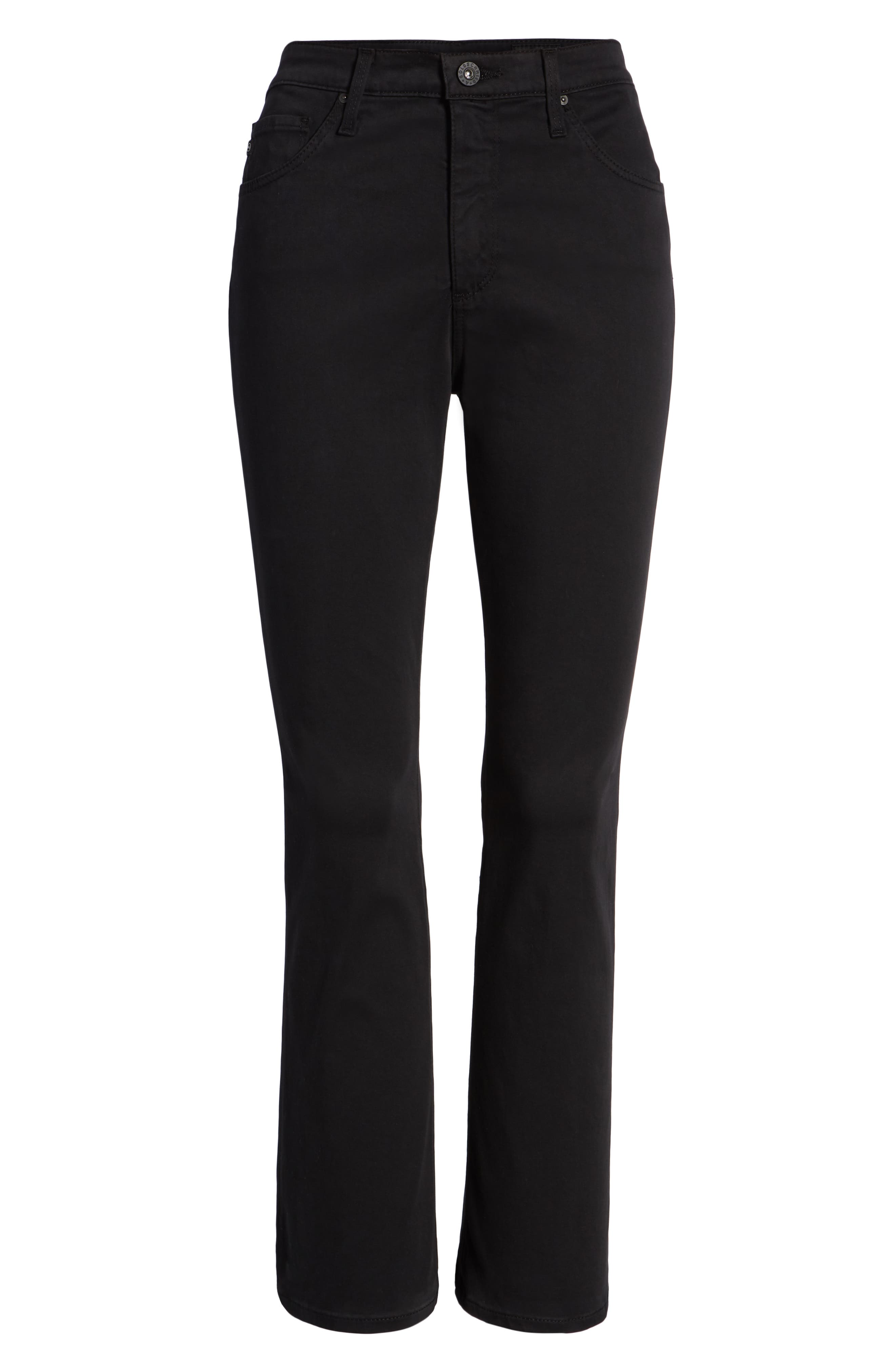 Jodi Sateen Crop Flare Jeans,                             Alternate thumbnail 7, color,                             Super Black