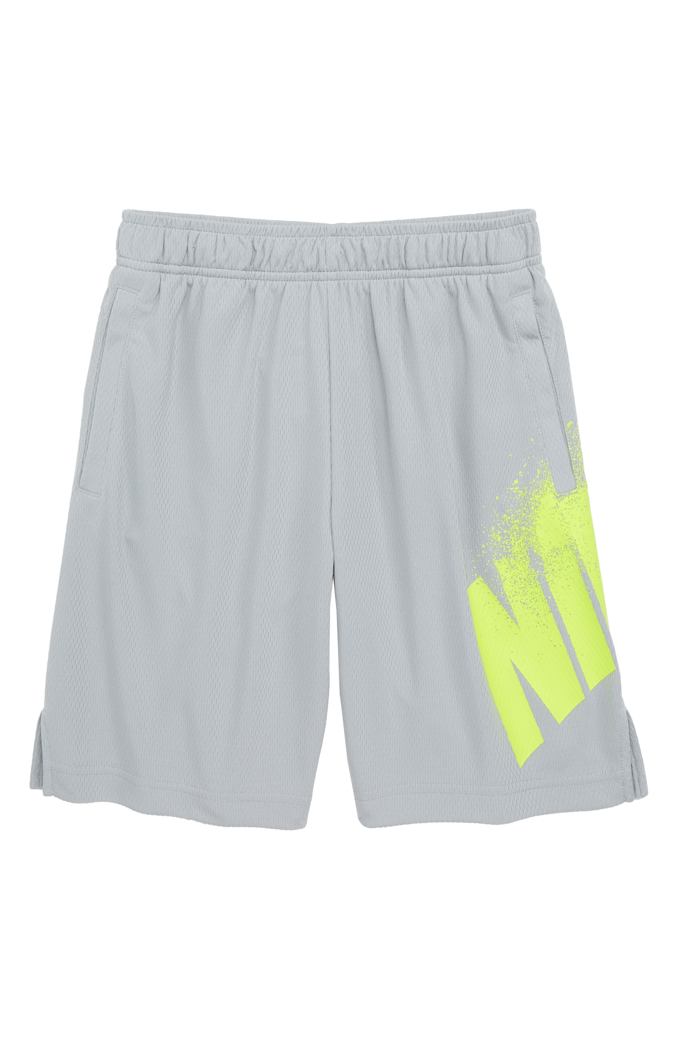 Dry GFX Athletic Shorts,                         Main,                         color, Wolf Grey/ Volt