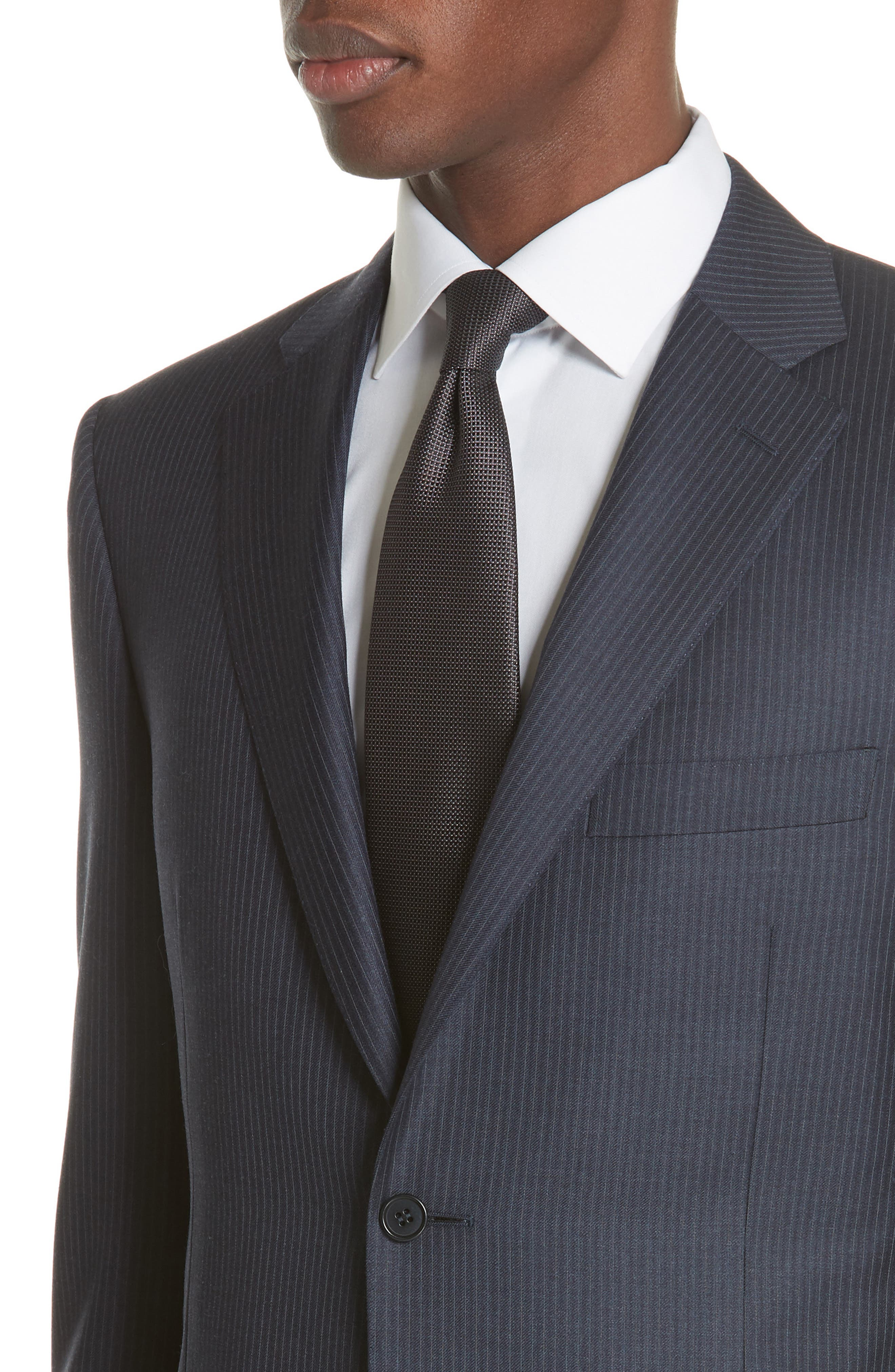 Classic Fit Pinstripe Wool Suit,                             Alternate thumbnail 4, color,                             Navy