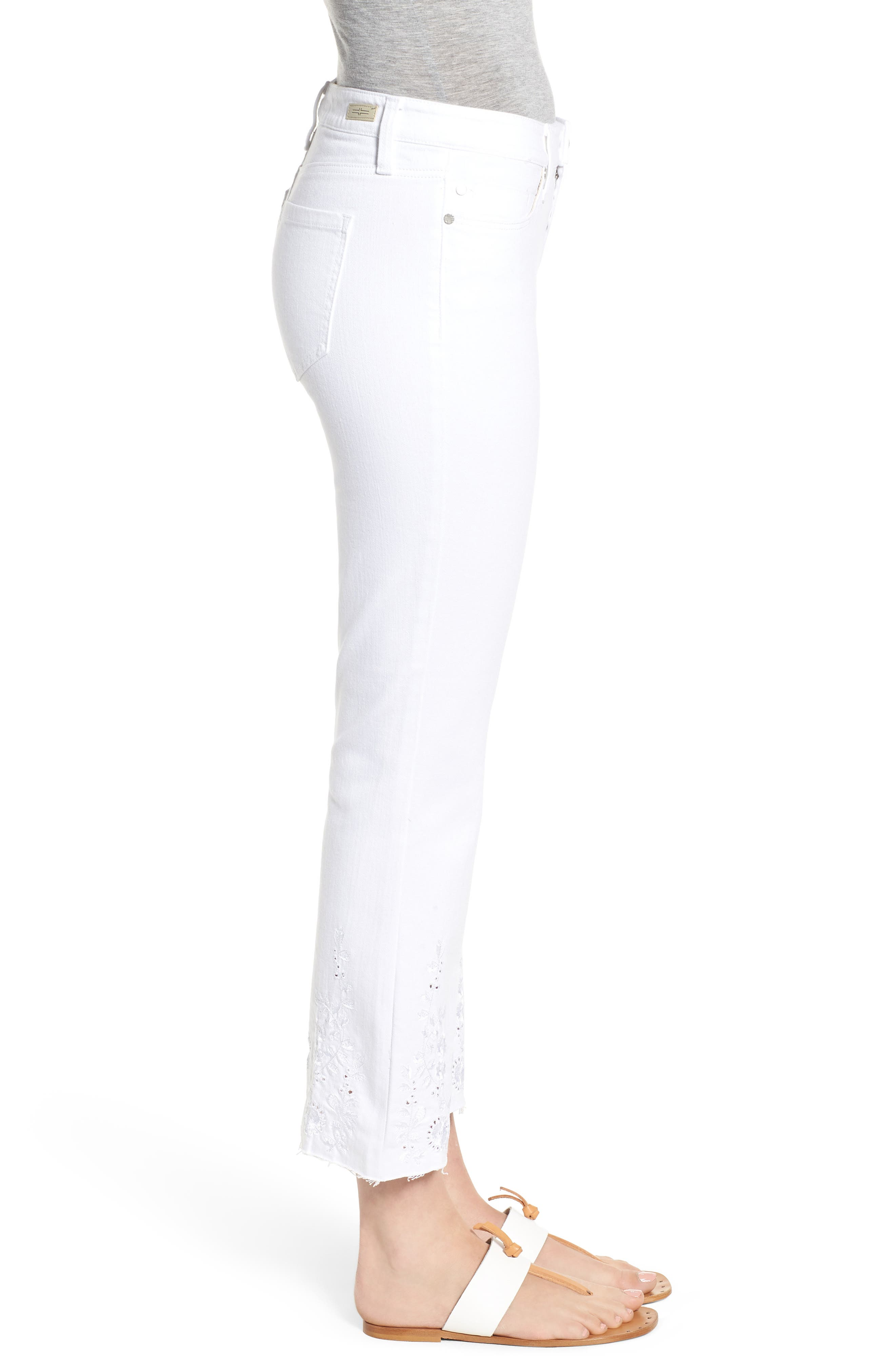 Hannah Embroidered Raw Hem Jeans,                             Alternate thumbnail 3, color,                             Bright White