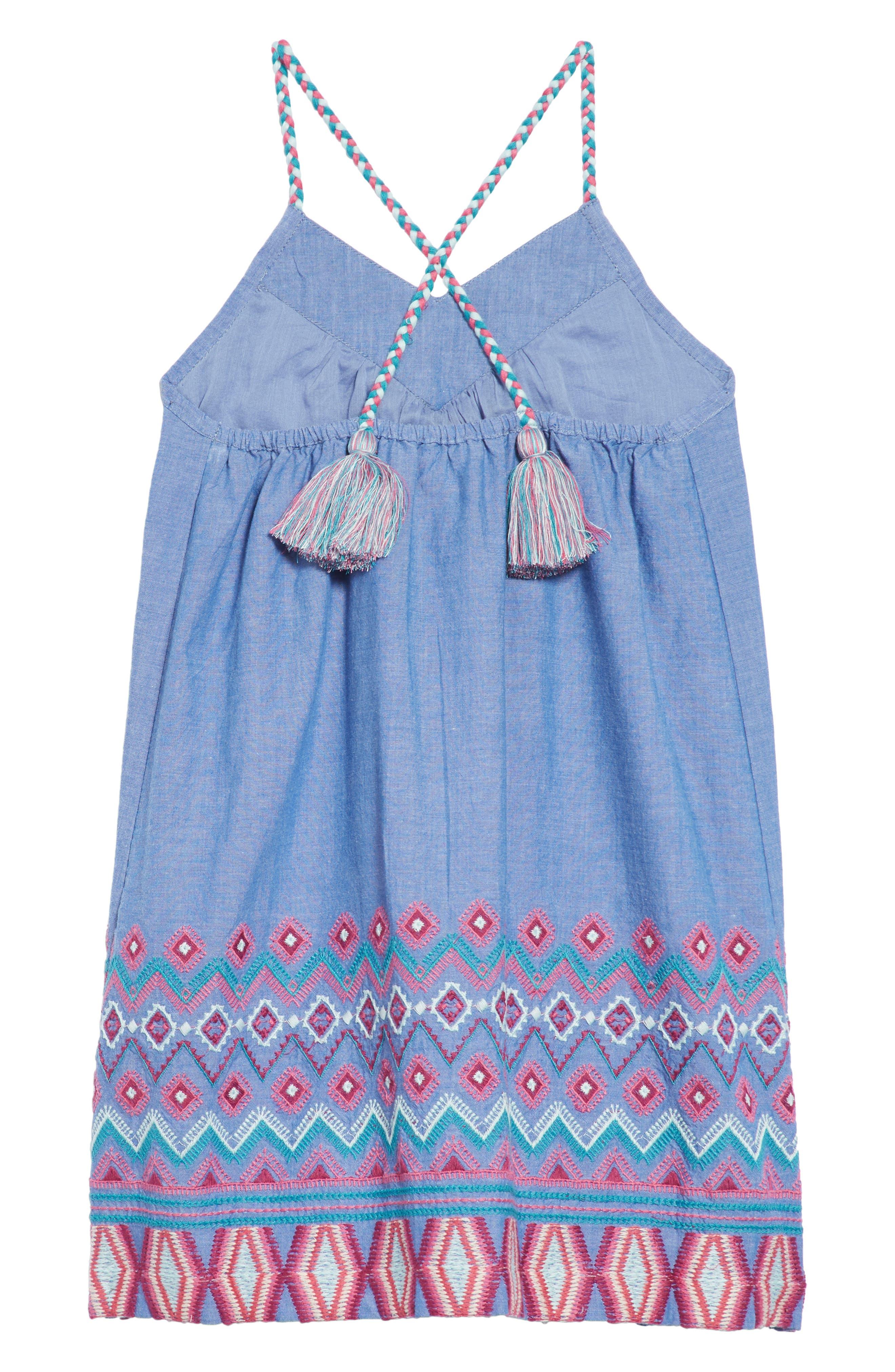 Melia Embroidered Chambray Sundress,                             Alternate thumbnail 2, color,                             Chambray