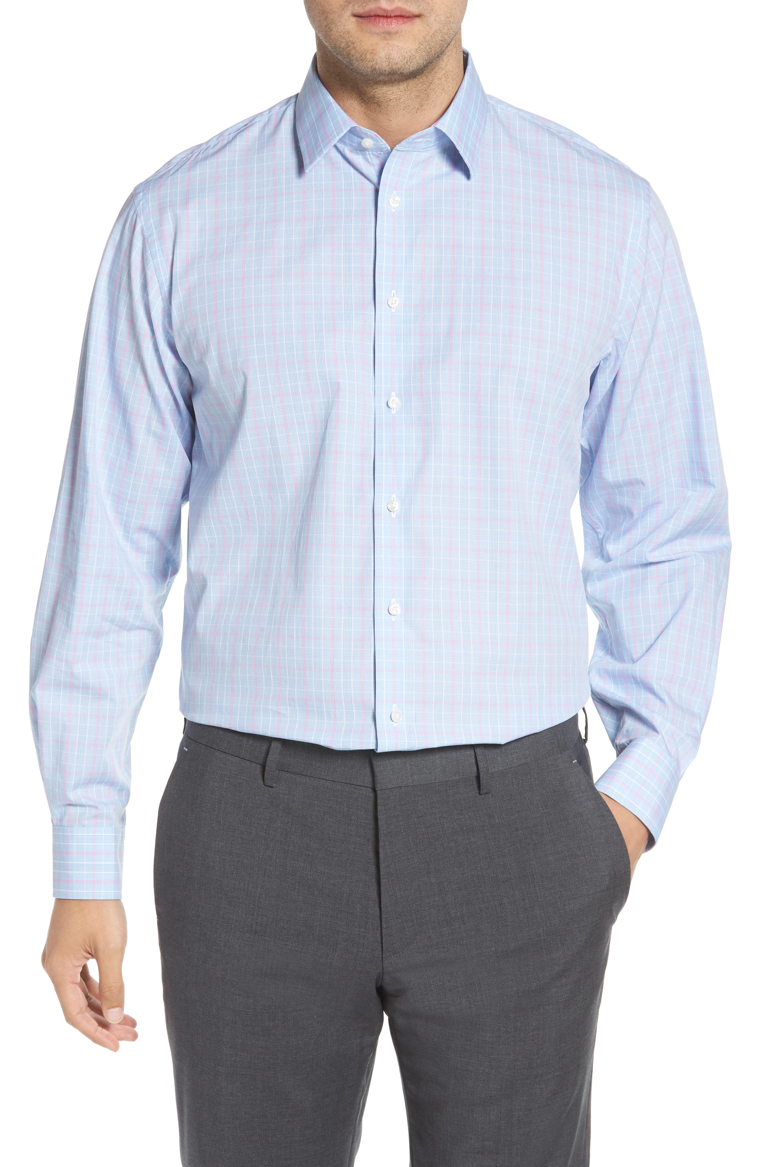Traditional Fit Plaid Dress Shirt,                             Main thumbnail 1, color,                             Blue Hydrangea