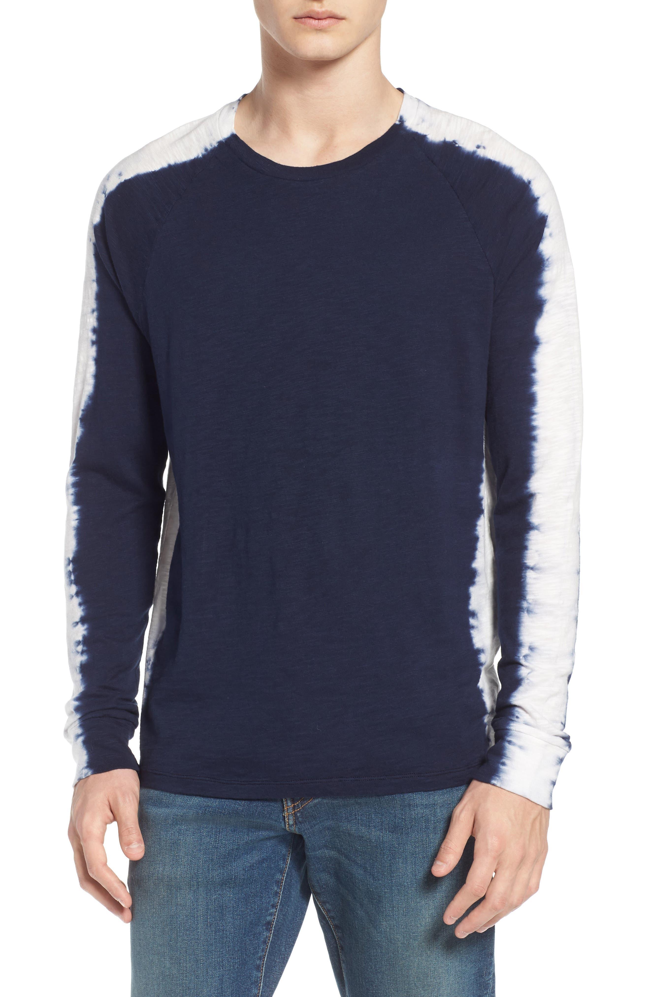 Raglan T-Shirt,                         Main,                         color, Indigo Stripe Shibori Indigo